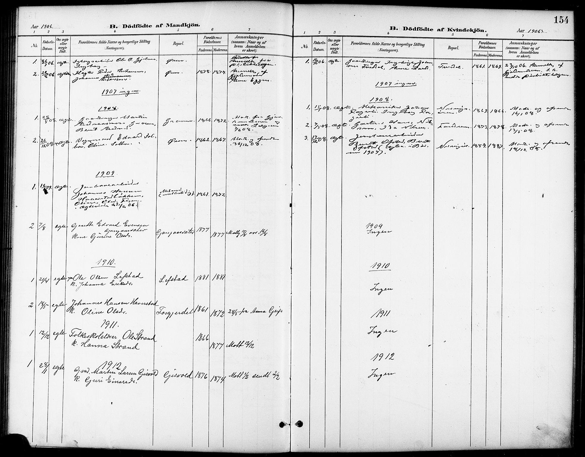 SAT, Ministerialprotokoller, klokkerbøker og fødselsregistre - Sør-Trøndelag, 668/L0819: Klokkerbok nr. 668C08, 1899-1912, s. 154