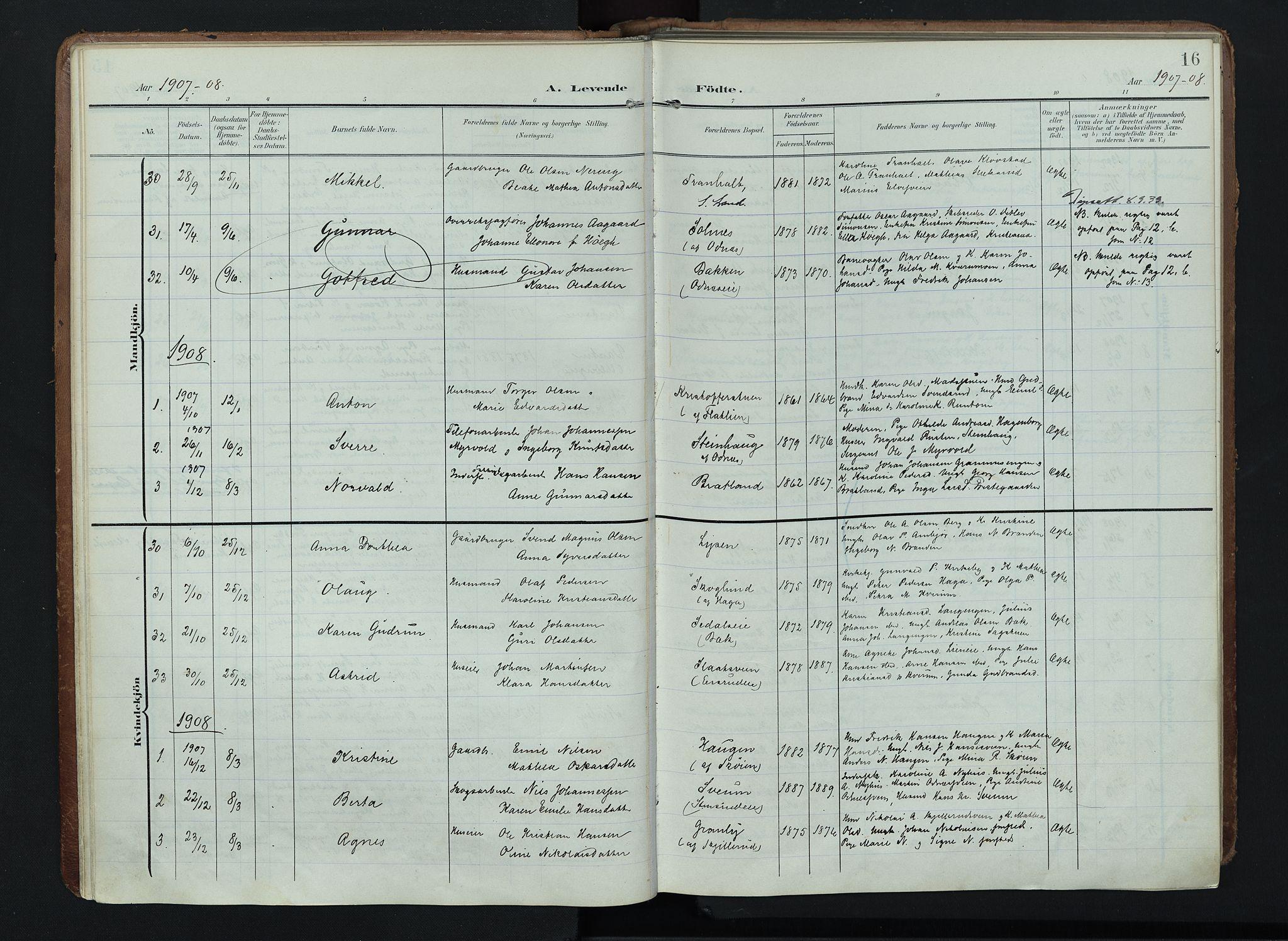 SAH, Søndre Land prestekontor, K/L0005: Ministerialbok nr. 5, 1905-1914, s. 16