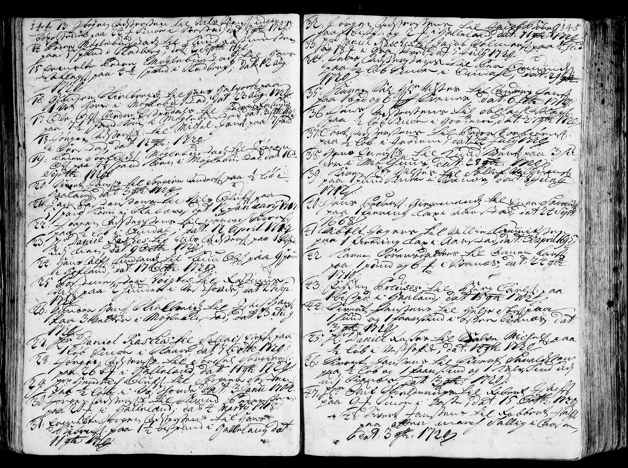 SAST, Jæren og Dalane sorenskriveri, 3/30/30BA/L0071: TINGBOK, 1720-1722, s. 144-145
