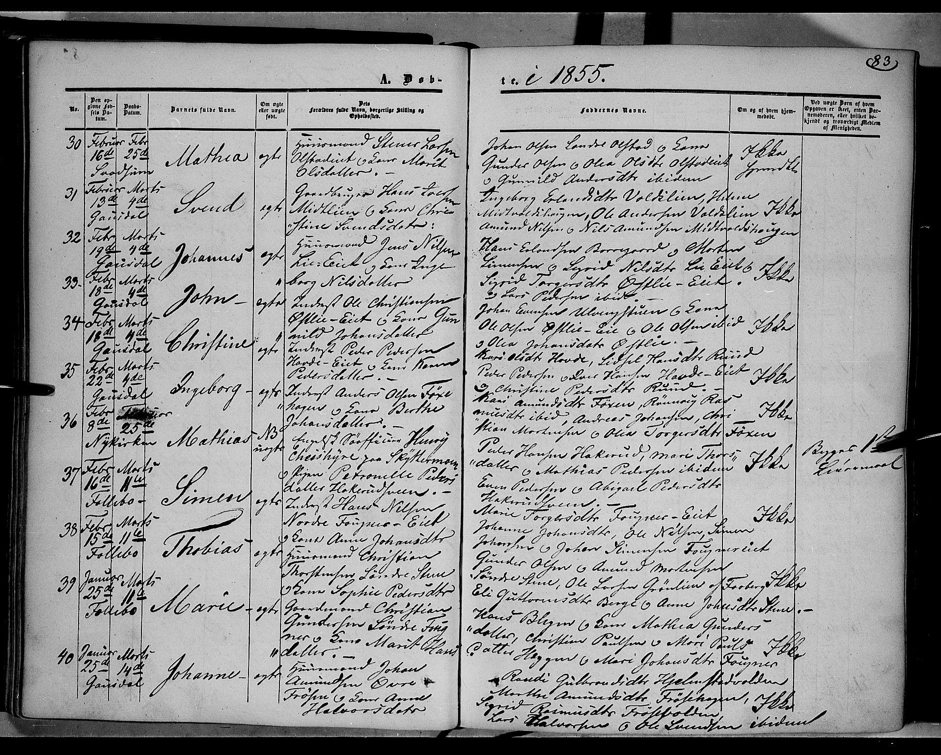 SAH, Gausdal prestekontor, Ministerialbok nr. 8, 1850-1861, s. 83