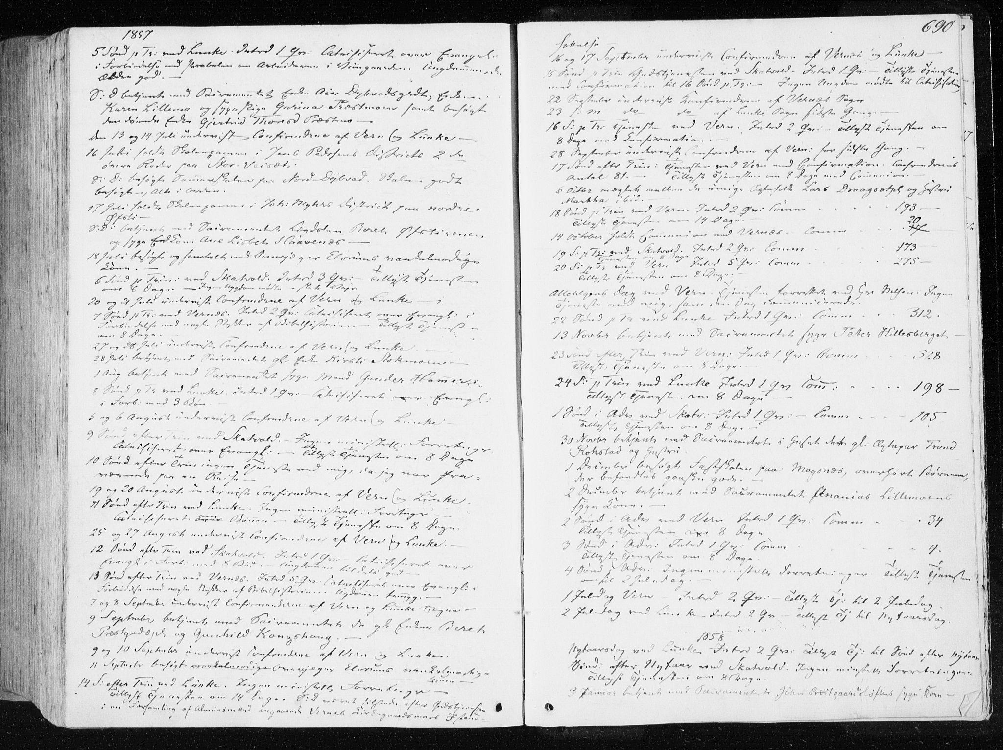 SAT, Ministerialprotokoller, klokkerbøker og fødselsregistre - Nord-Trøndelag, 709/L0074: Ministerialbok nr. 709A14, 1845-1858, s. 690