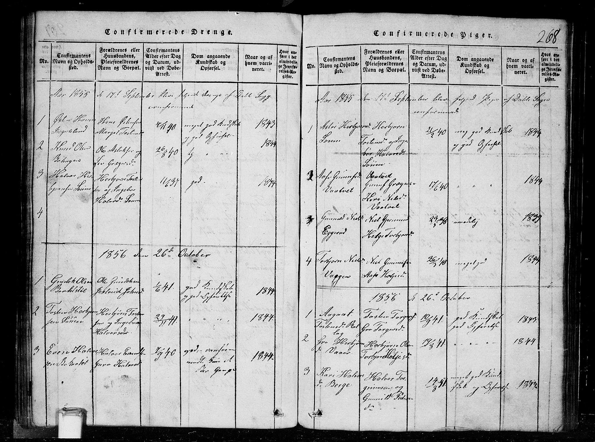 SAKO, Tinn kirkebøker, G/Gc/L0001: Klokkerbok nr. III 1, 1815-1879, s. 268