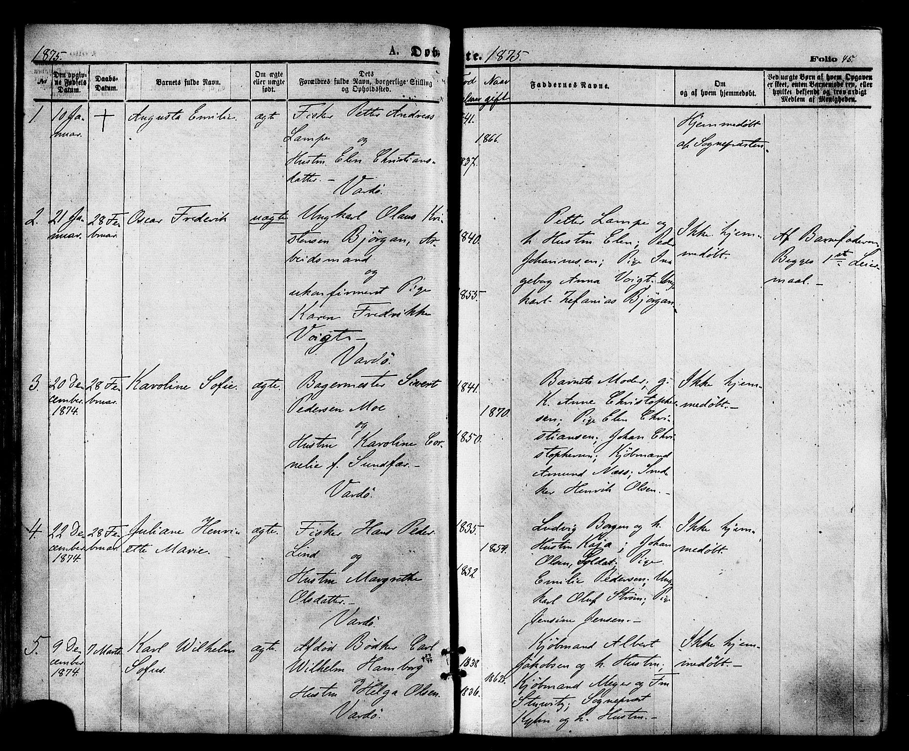SATØ, Vardø sokneprestkontor, H/Ha/L0005kirke: Ministerialbok nr. 5, 1872-1878, s. 45