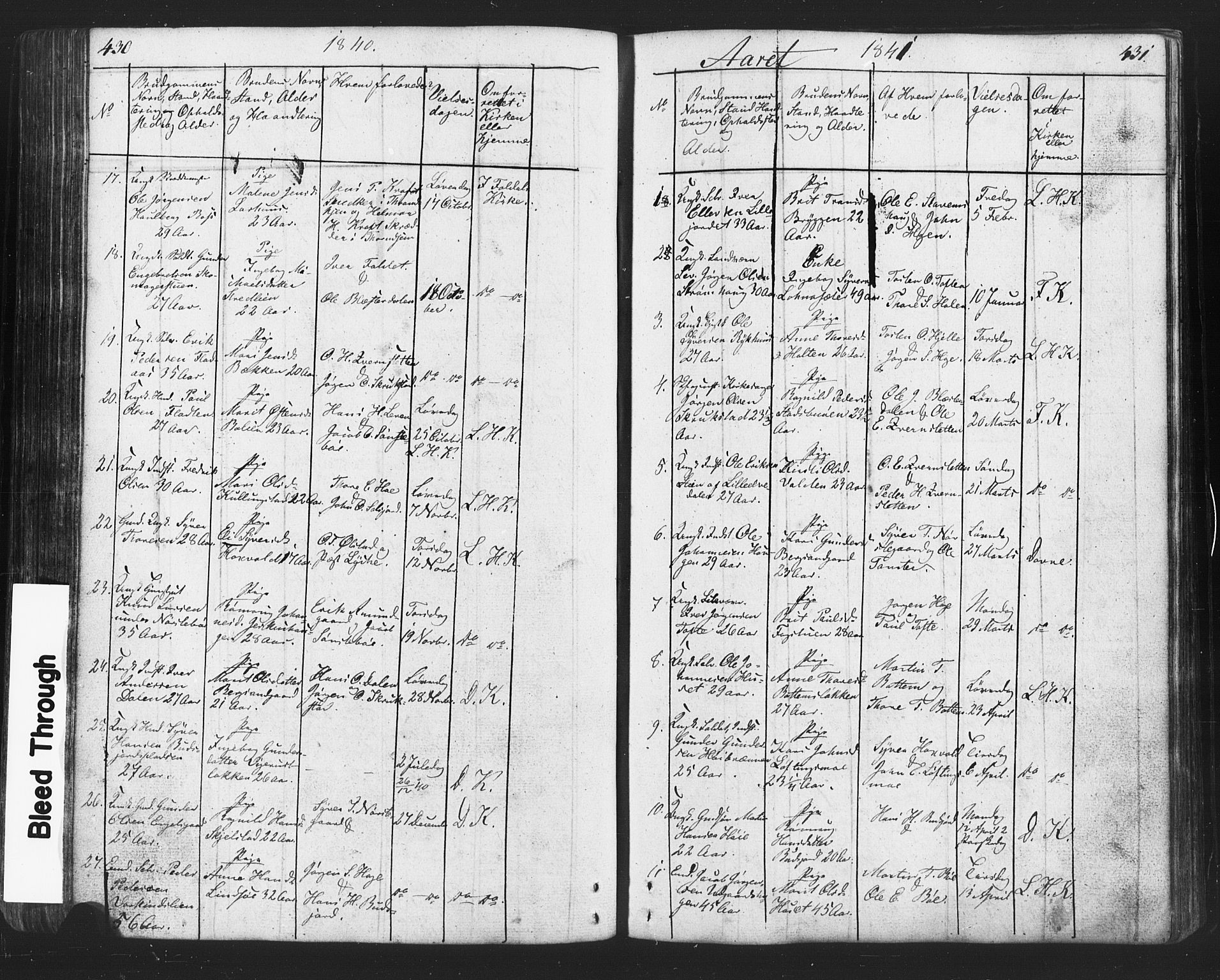 SAH, Lesja prestekontor, Klokkerbok nr. 2, 1832-1850, s. 430-431