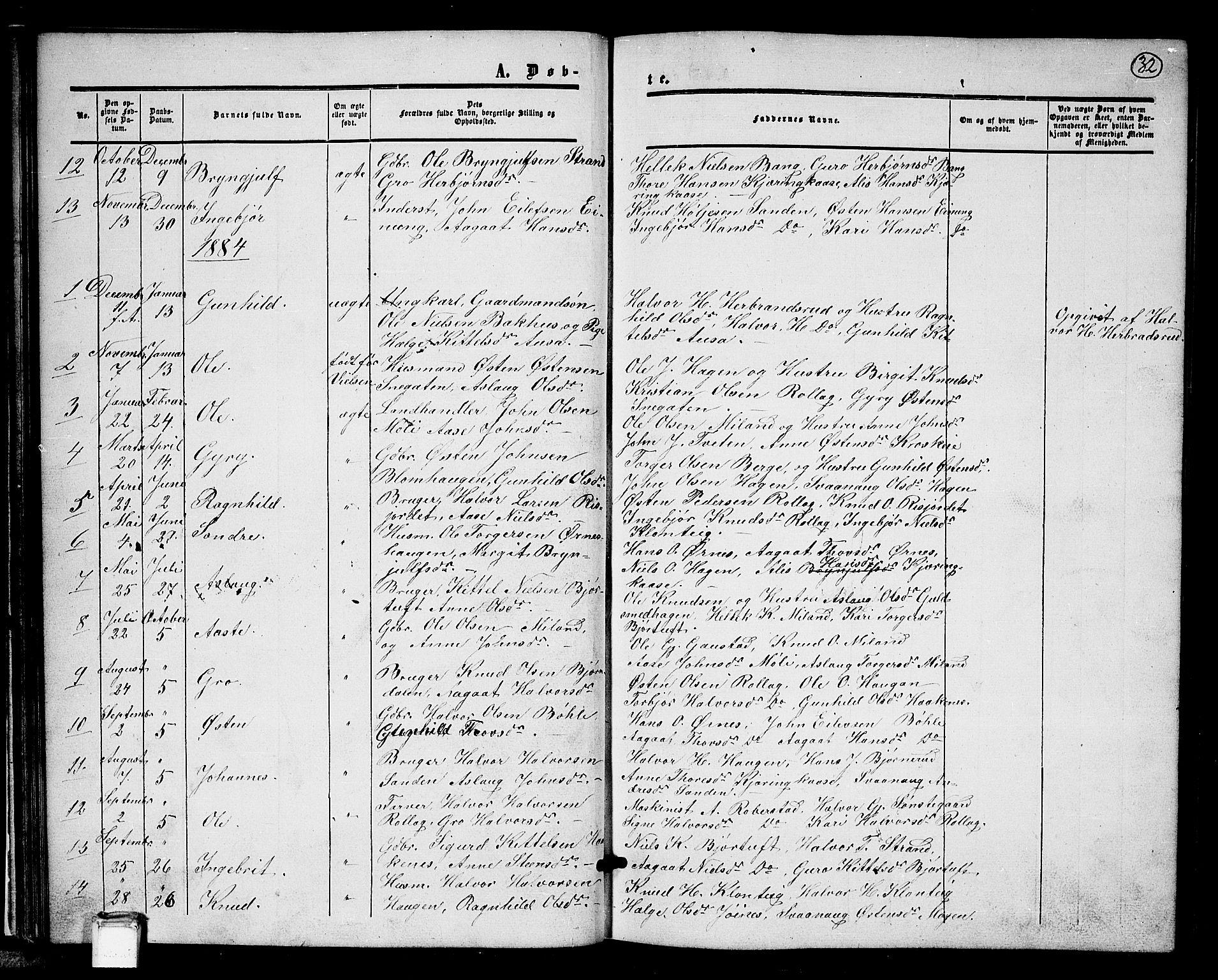 SAKO, Tinn kirkebøker, G/Gb/L0002: Klokkerbok nr. II 2, 1851-1886, s. 32