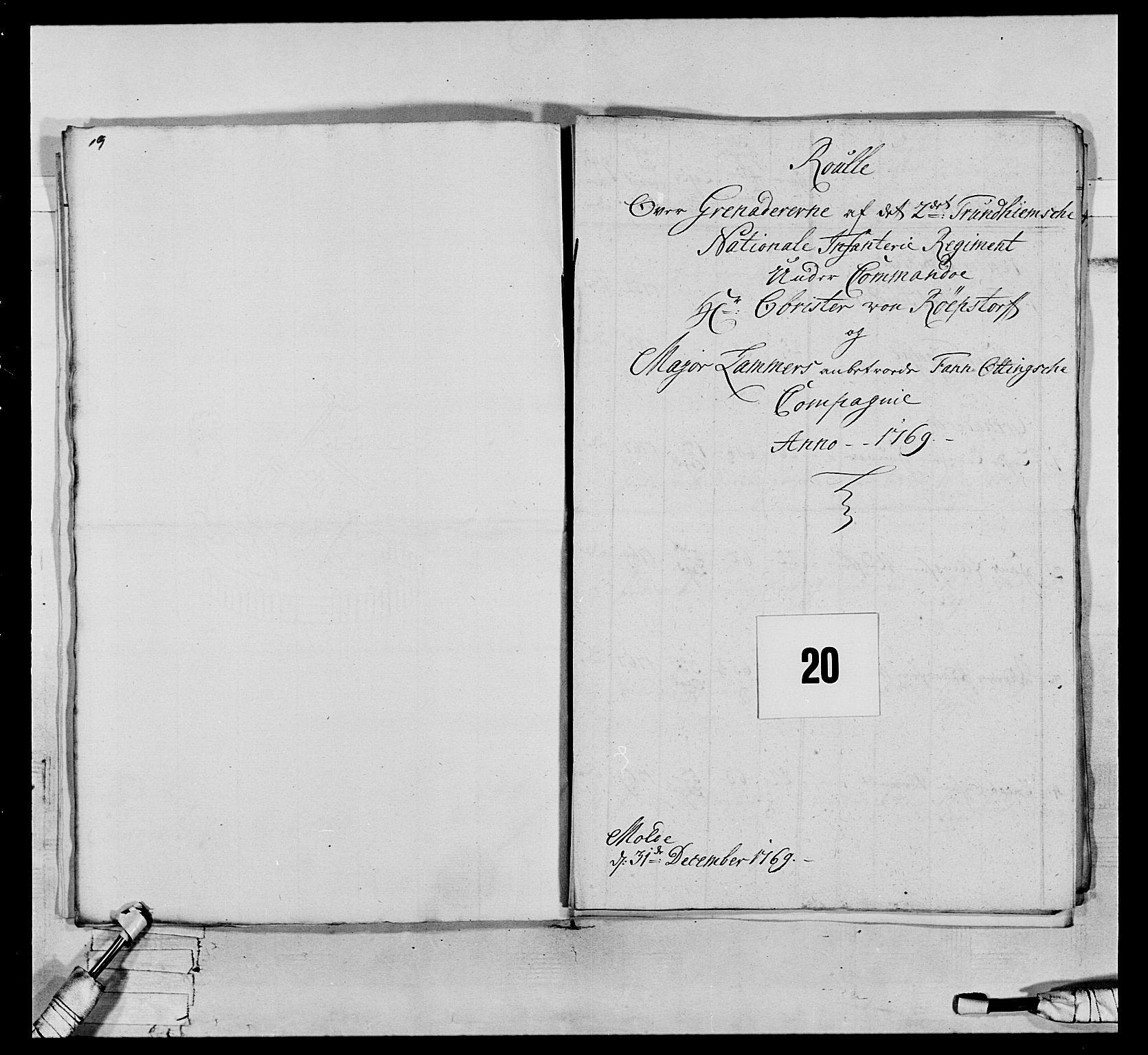 RA, Generalitets- og kommissariatskollegiet, Det kongelige norske kommissariatskollegium, E/Eh/L0076: 2. Trondheimske nasjonale infanteriregiment, 1766-1773, s. 43