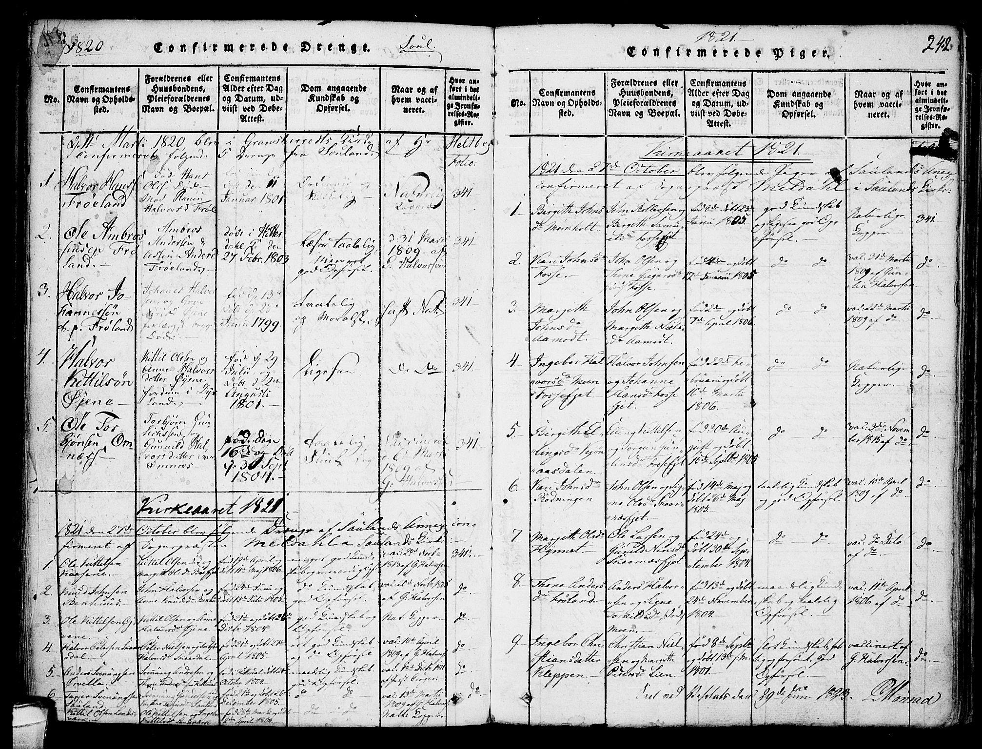 SAKO, Hjartdal kirkebøker, F/Fb/L0001: Ministerialbok nr. II 1, 1815-1843, s. 242
