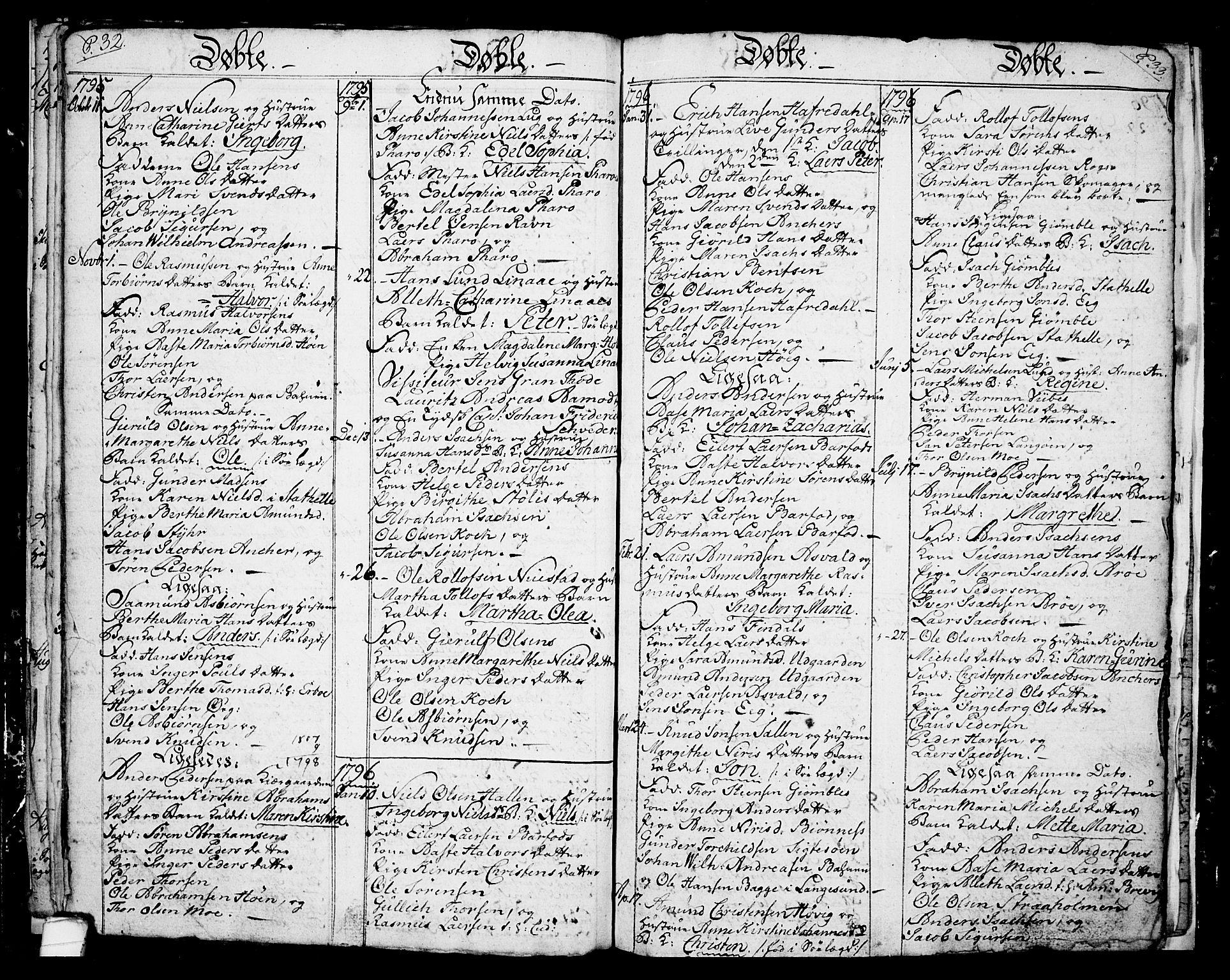SAKO, Langesund kirkebøker, G/Ga/L0001: Klokkerbok nr. 1, 1783-1801, s. 32-33