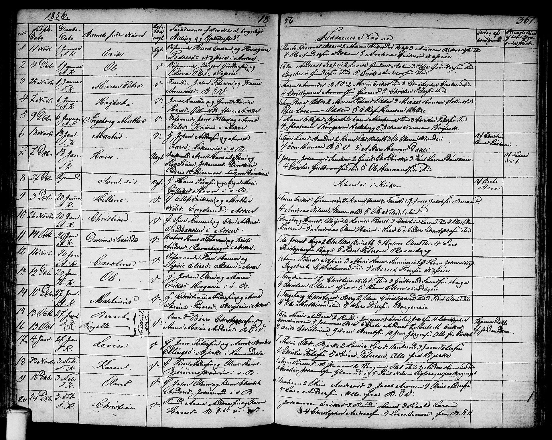 SAO, Asker prestekontor Kirkebøker, F/Fa/L0007: Ministerialbok nr. I 7, 1825-1864, s. 367