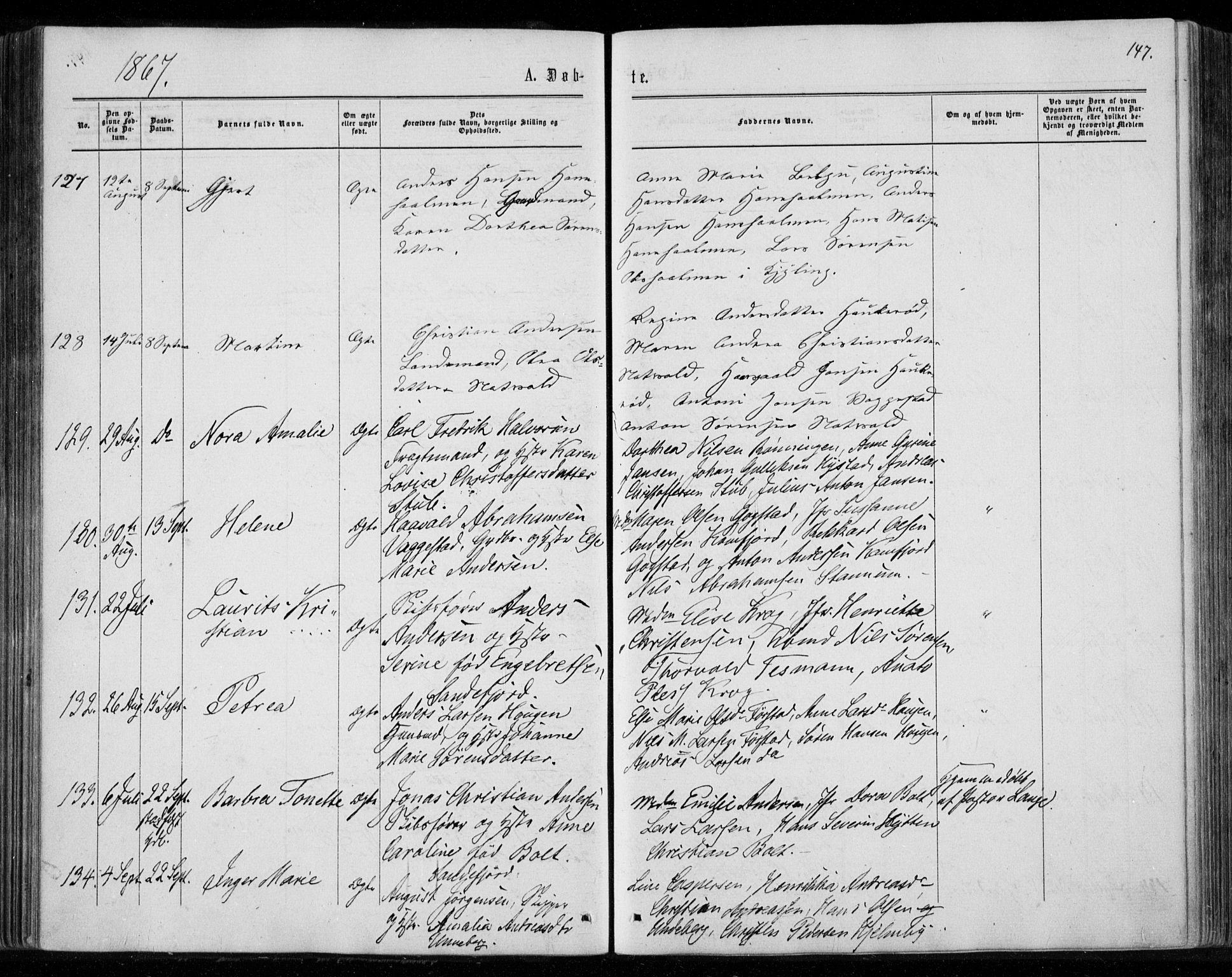 SAKO, Sandar kirkebøker, F/Fa/L0008: Ministerialbok nr. 8, 1862-1871, s. 147