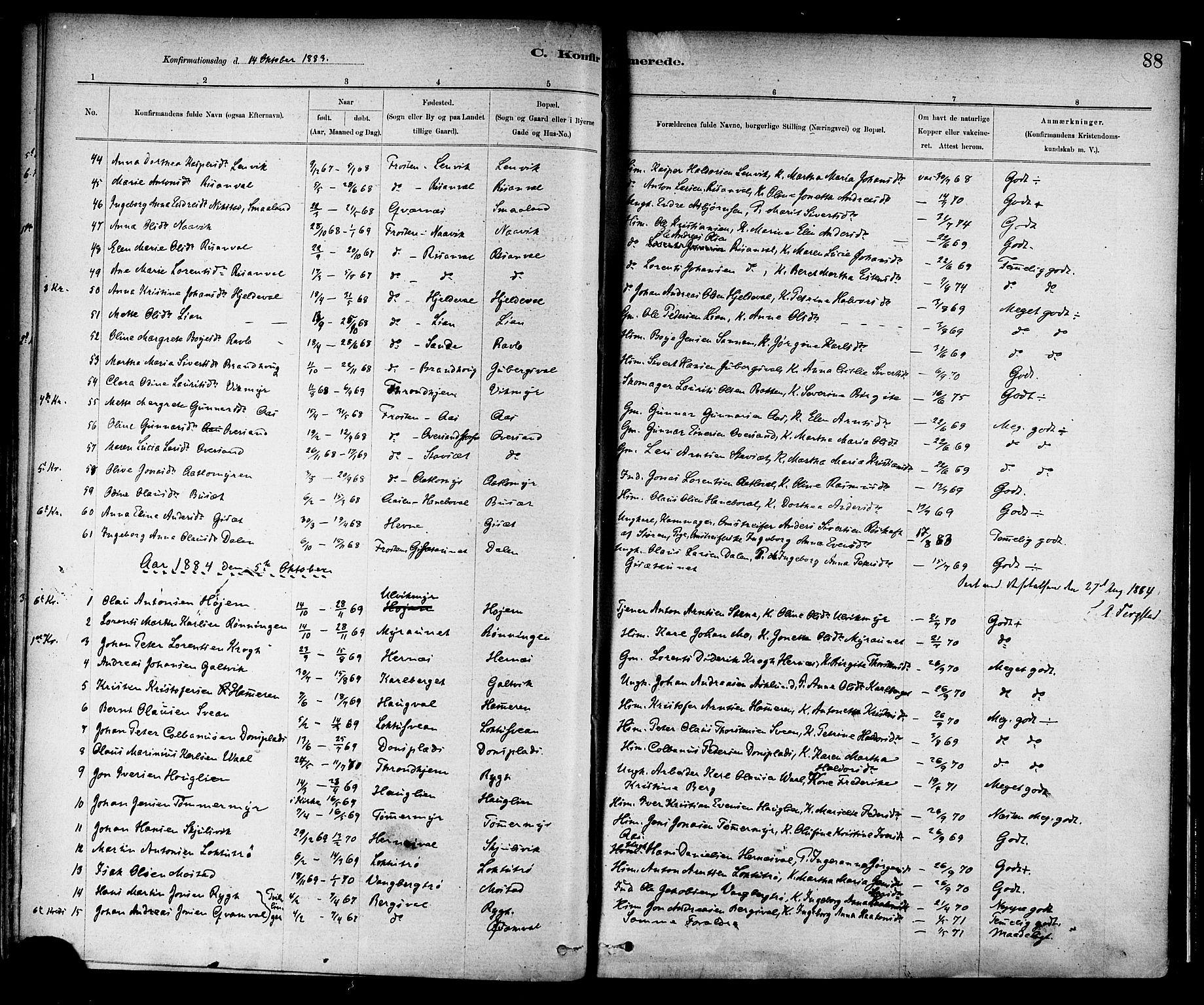 SAT, Ministerialprotokoller, klokkerbøker og fødselsregistre - Nord-Trøndelag, 713/L0120: Ministerialbok nr. 713A09, 1878-1887, s. 88