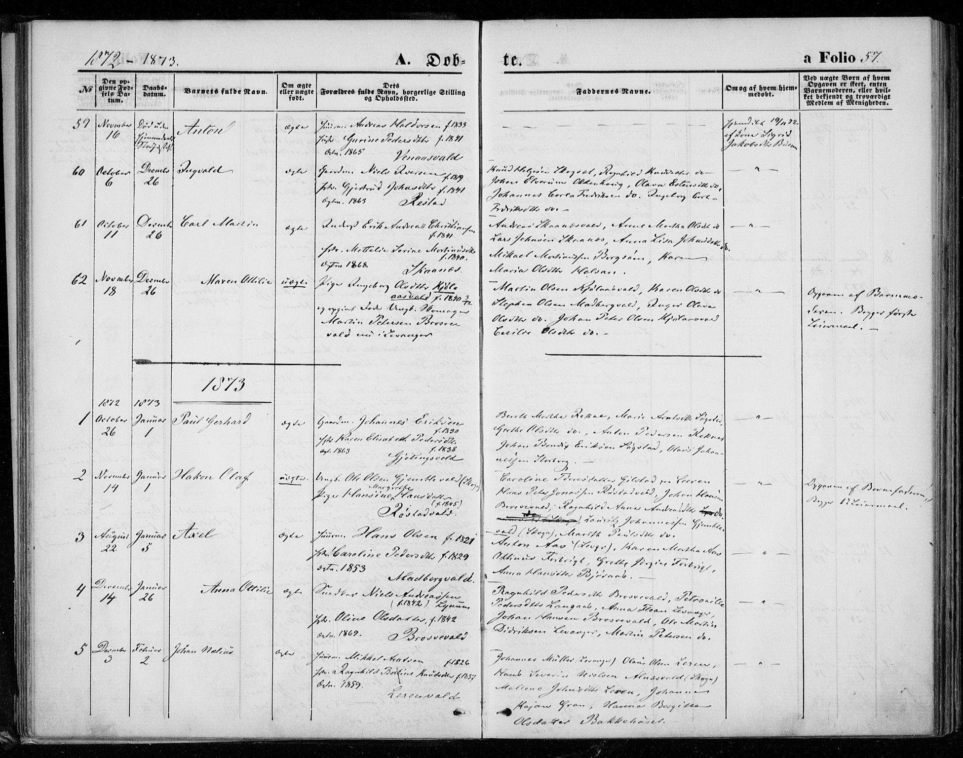 SAT, Ministerialprotokoller, klokkerbøker og fødselsregistre - Nord-Trøndelag, 721/L0206: Ministerialbok nr. 721A01, 1864-1874, s. 57