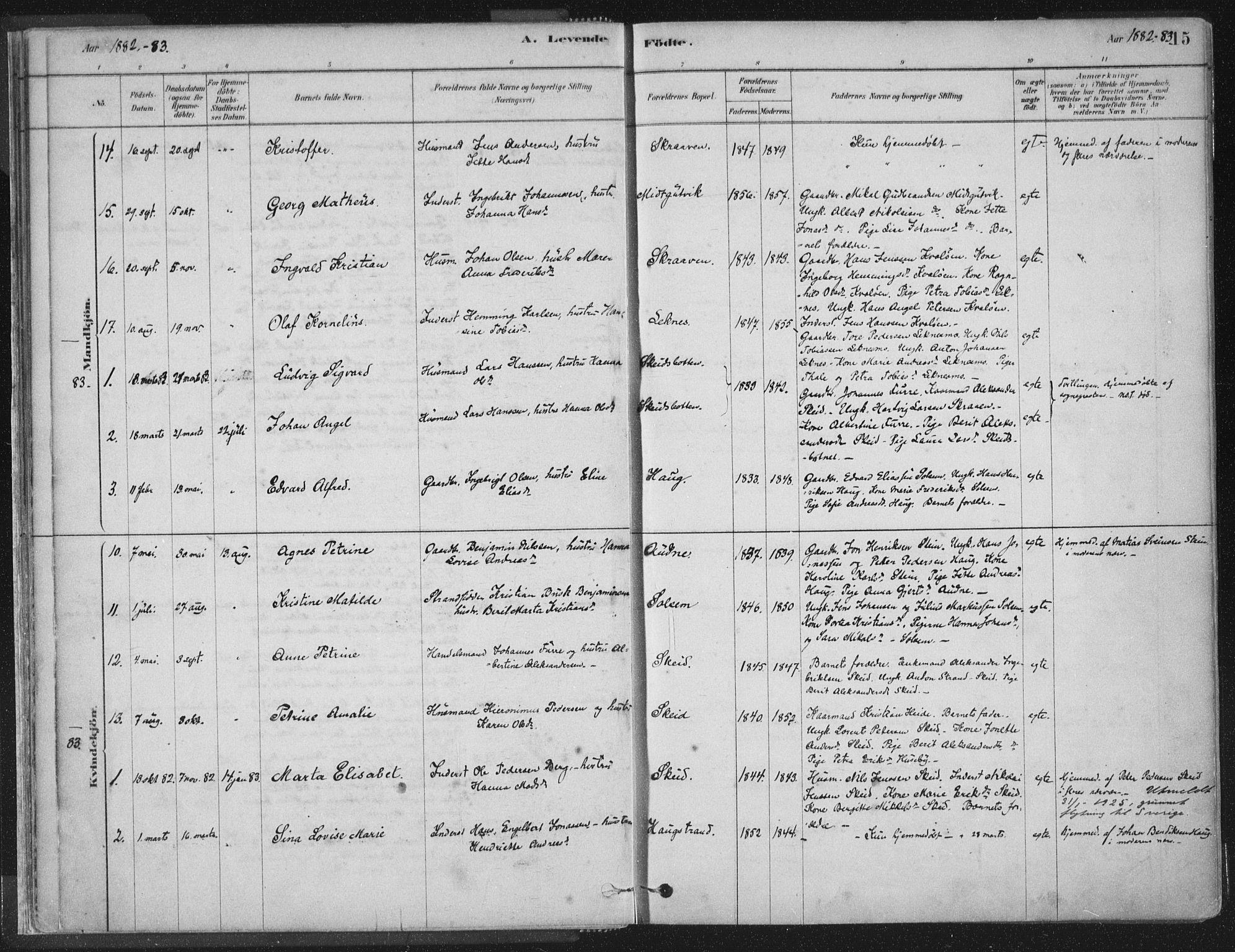SAT, Ministerialprotokoller, klokkerbøker og fødselsregistre - Nord-Trøndelag, 788/L0697: Ministerialbok nr. 788A04, 1878-1902, s. 15