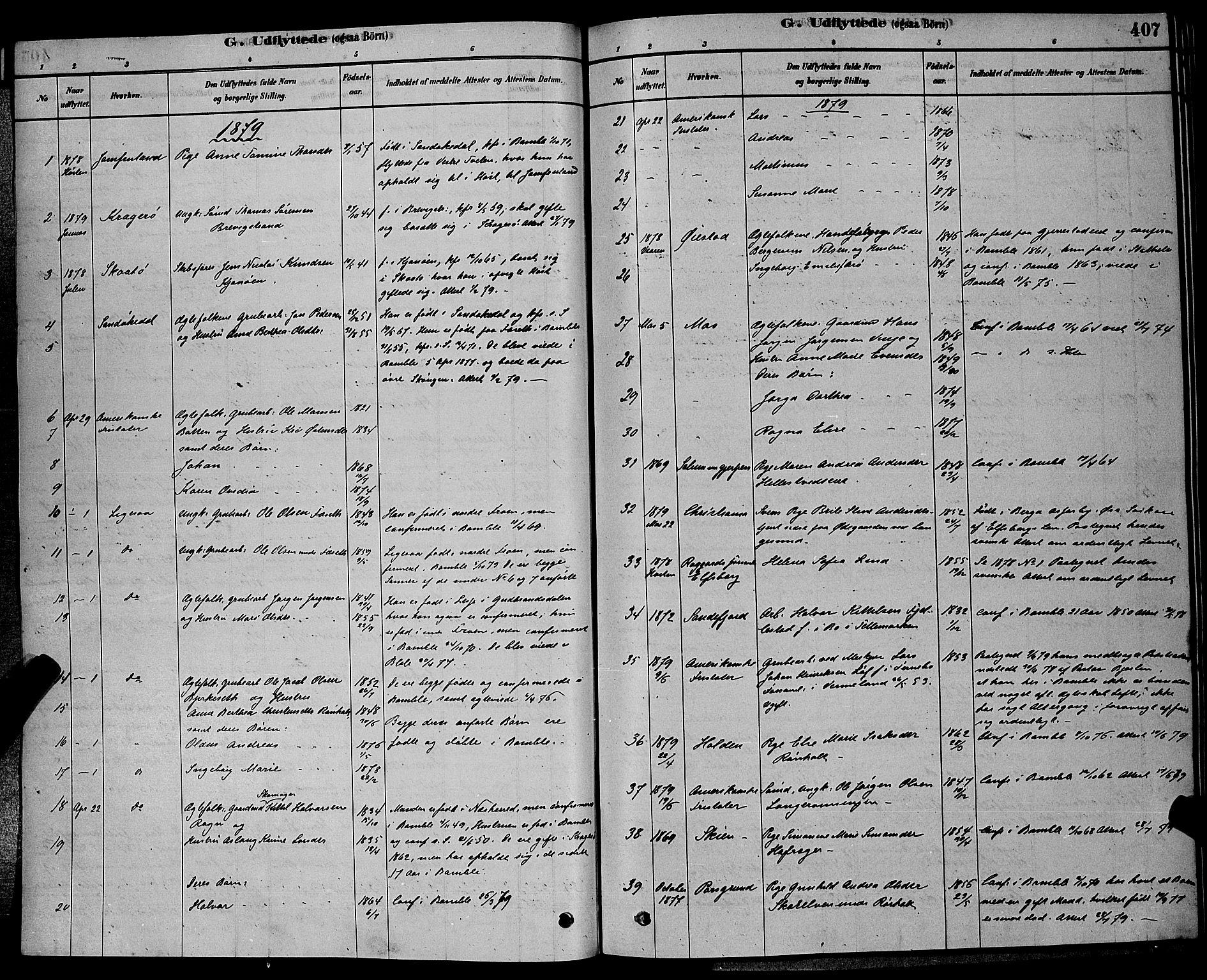SAKO, Bamble kirkebøker, G/Ga/L0008: Klokkerbok nr. I 8, 1878-1888, s. 407