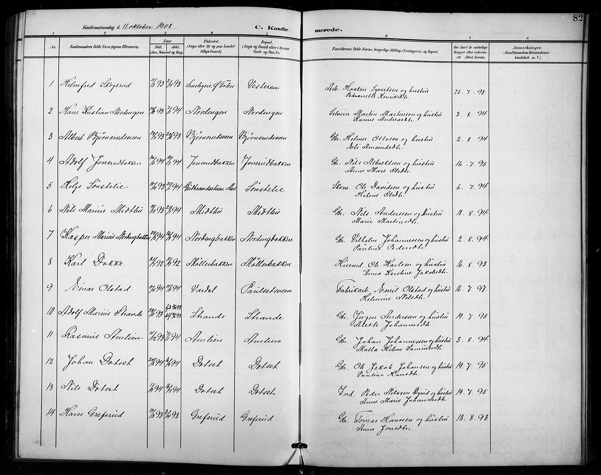 SAH, Vestre Toten prestekontor, H/Ha/Hab/L0016: Klokkerbok nr. 16, 1901-1915, s. 82