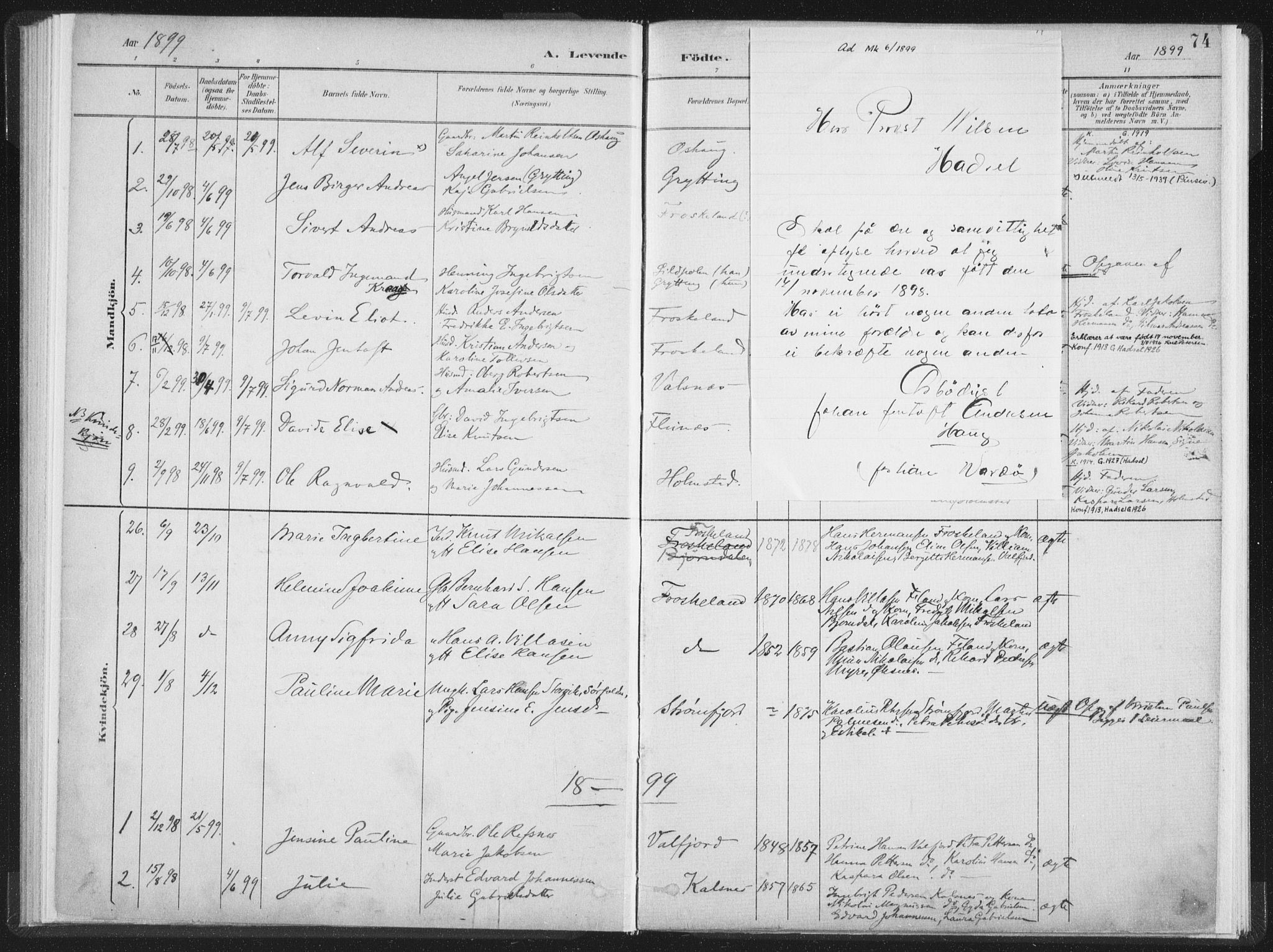 SAT, Ministerialprotokoller, klokkerbøker og fødselsregistre - Nordland, 890/L1286: Ministerialbok nr. 890A01, 1882-1902, s. 74
