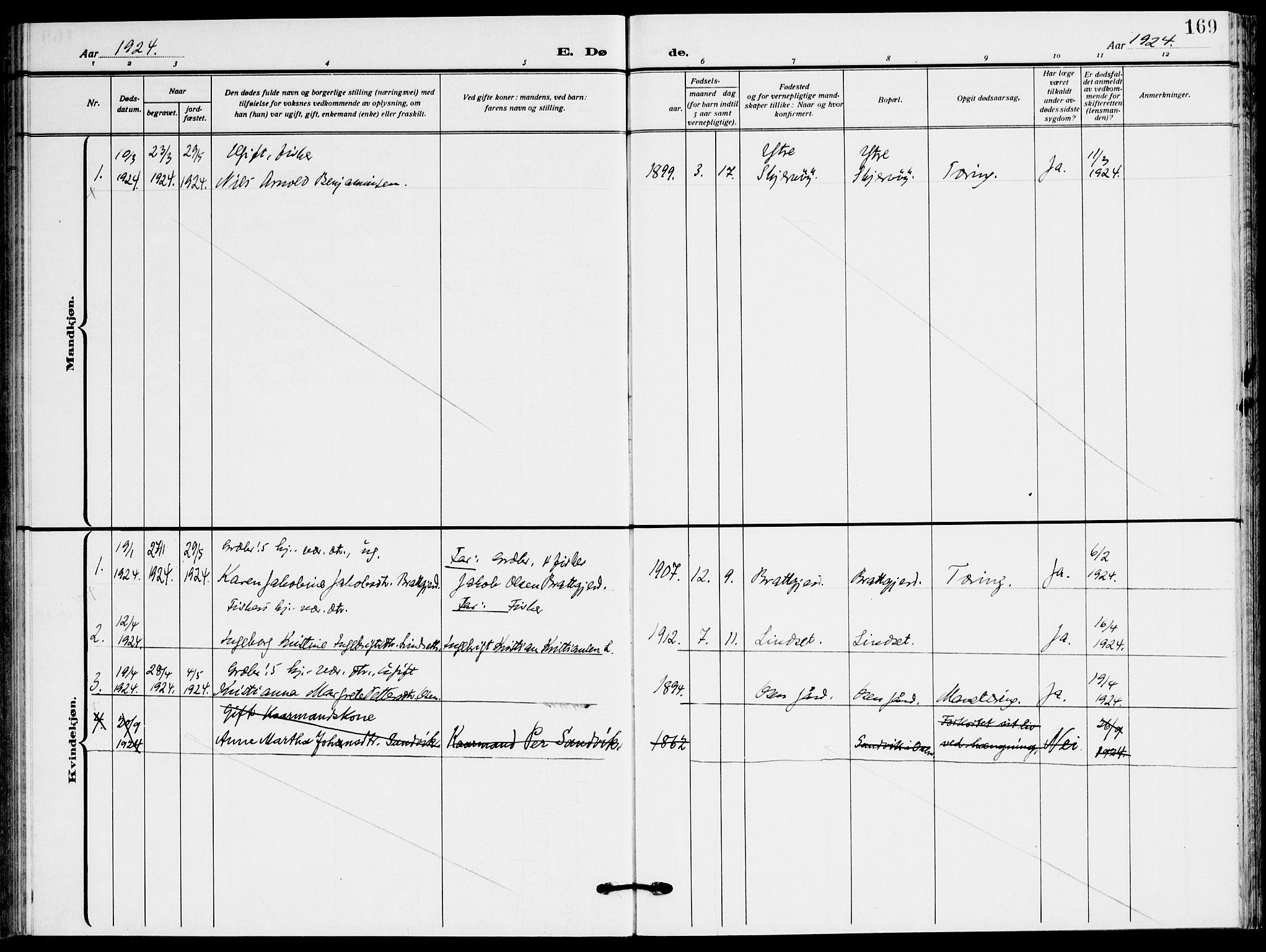 SAT, Ministerialprotokoller, klokkerbøker og fødselsregistre - Sør-Trøndelag, 658/L0724: Ministerialbok nr. 658A03, 1912-1924, s. 169