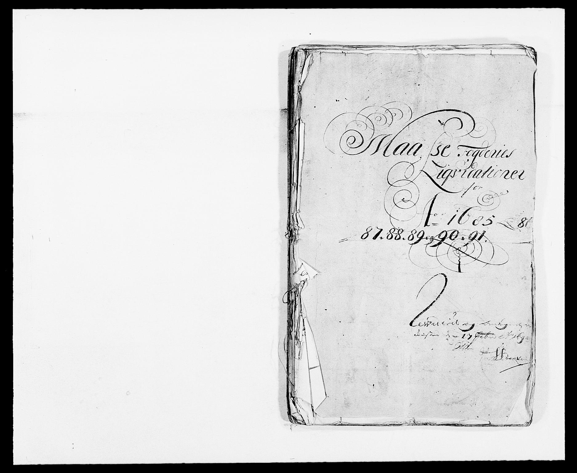 RA, Rentekammeret inntil 1814, Reviderte regnskaper, Fogderegnskap, R02/L0107: Fogderegnskap Moss og Verne kloster, 1685-1691, s. 2
