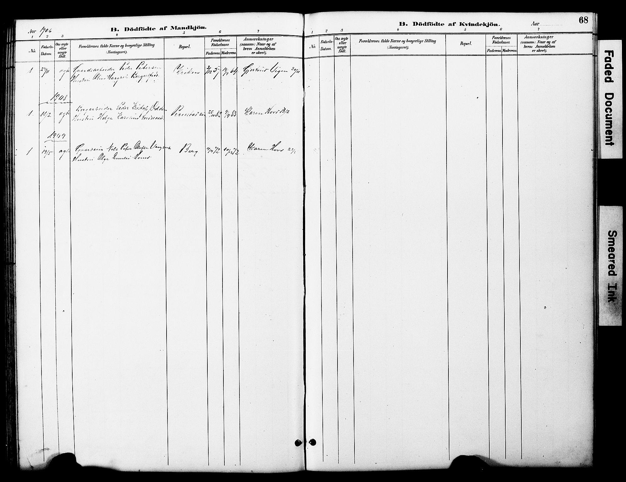 SAT, Ministerialprotokoller, klokkerbøker og fødselsregistre - Nord-Trøndelag, 722/L0226: Klokkerbok nr. 722C02, 1889-1927, s. 68