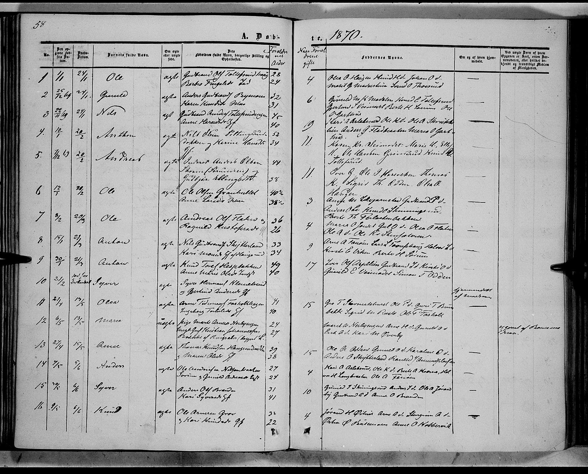 SAH, Sør-Aurdal prestekontor, Ministerialbok nr. 7, 1849-1876, s. 58