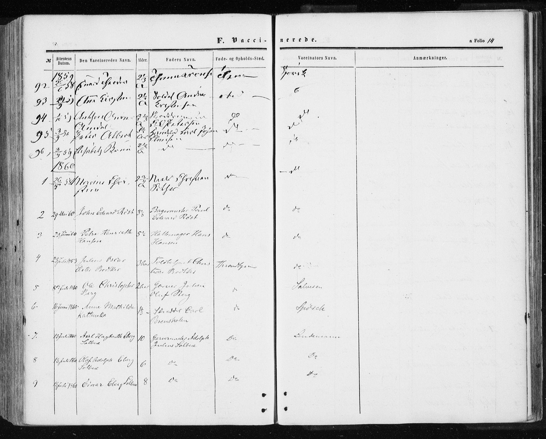 SAT, Ministerialprotokoller, klokkerbøker og fødselsregistre - Sør-Trøndelag, 601/L0053: Ministerialbok nr. 601A21, 1857-1865, s. 14