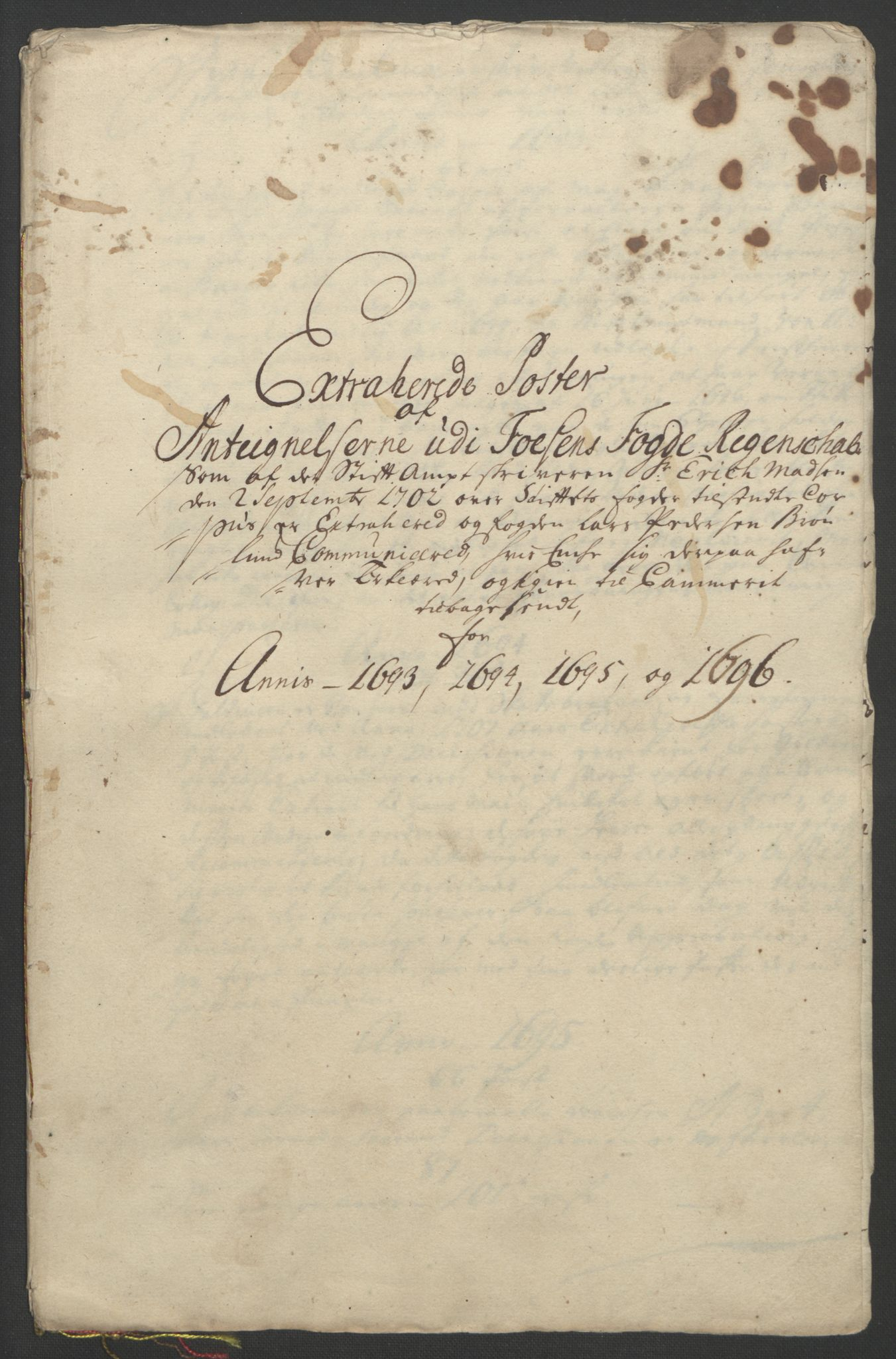 RA, Rentekammeret inntil 1814, Reviderte regnskaper, Fogderegnskap, R57/L3851: Fogderegnskap Fosen, 1695-1696, s. 327