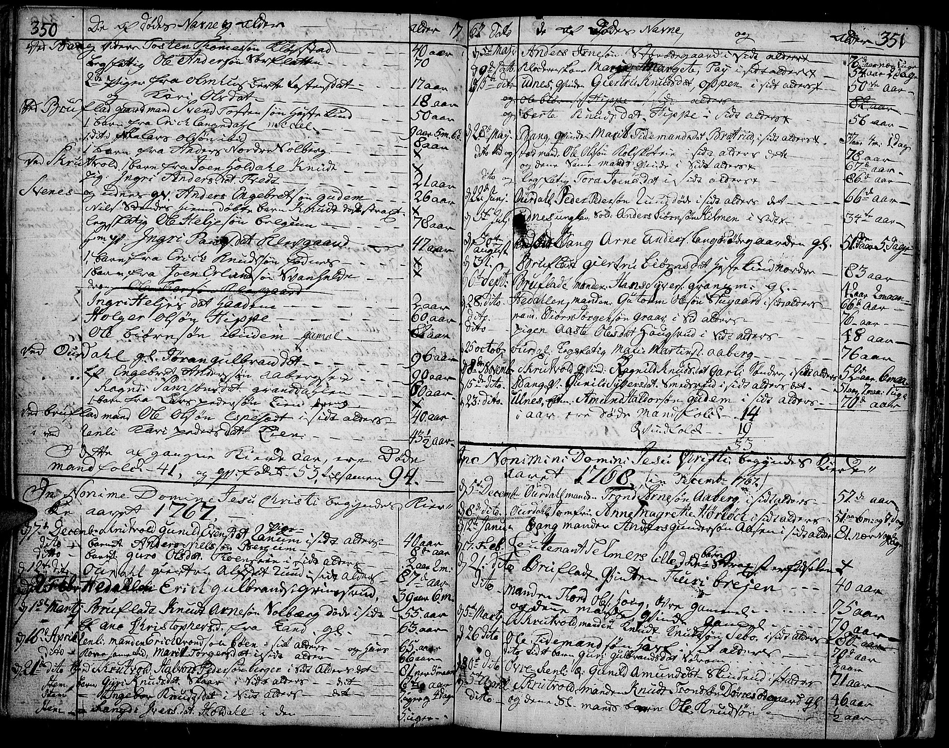 SAH, Aurdal prestekontor, Ministerialbok nr. 5, 1763-1781, s. 350-351