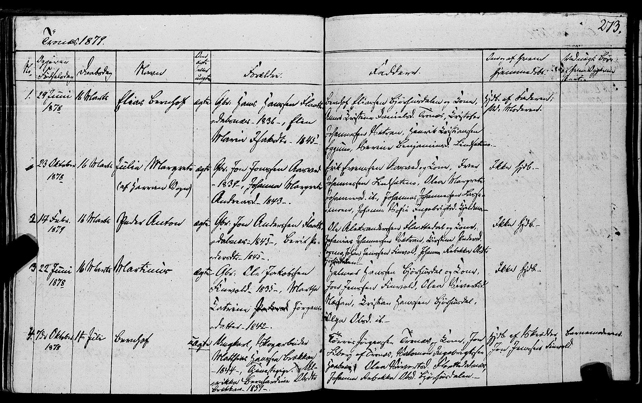 SAT, Ministerialprotokoller, klokkerbøker og fødselsregistre - Nord-Trøndelag, 762/L0538: Ministerialbok nr. 762A02 /2, 1833-1879, s. 273