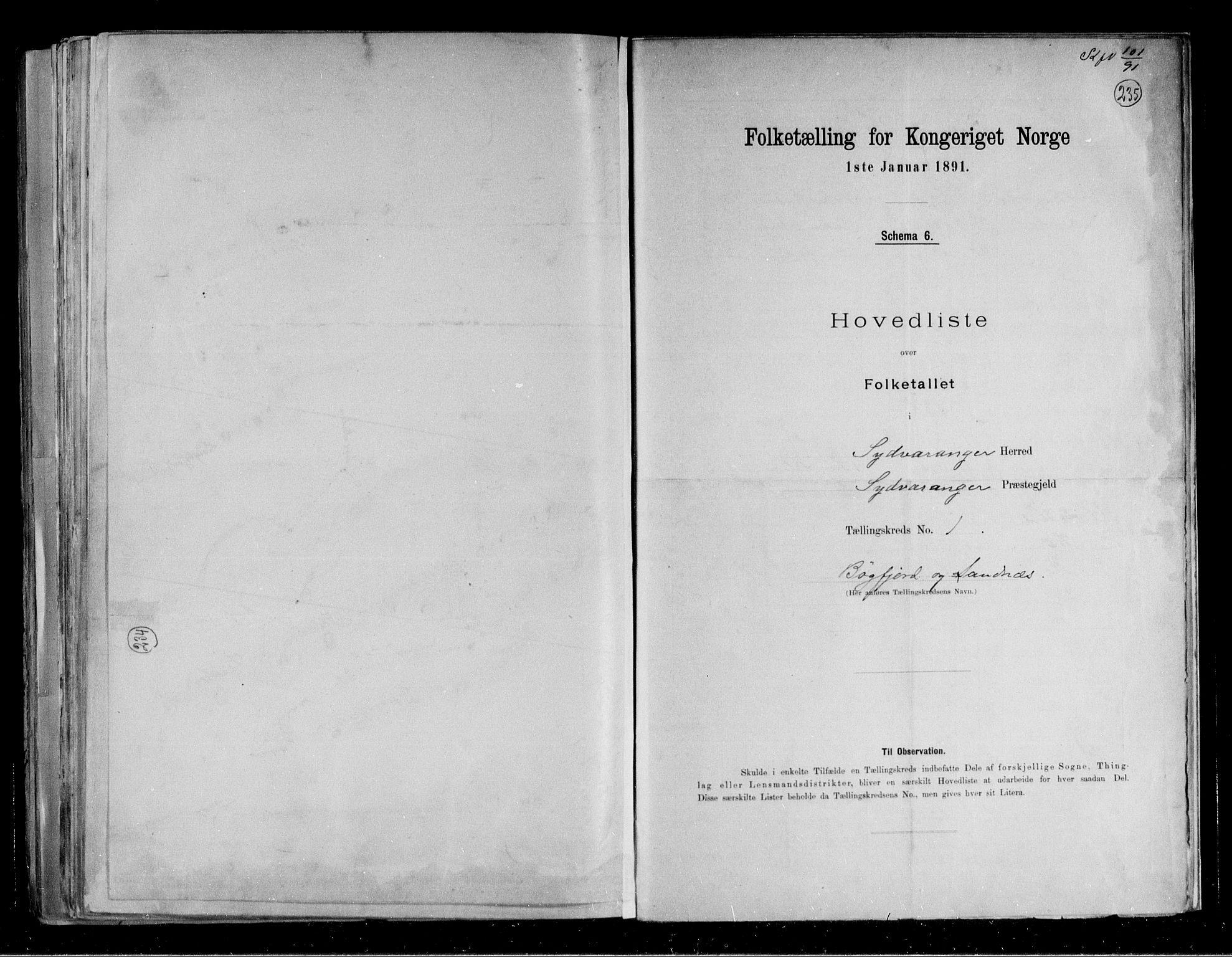RA, Folketelling 1891 for 2030 Sør-Varanger herred, 1891, s. 5