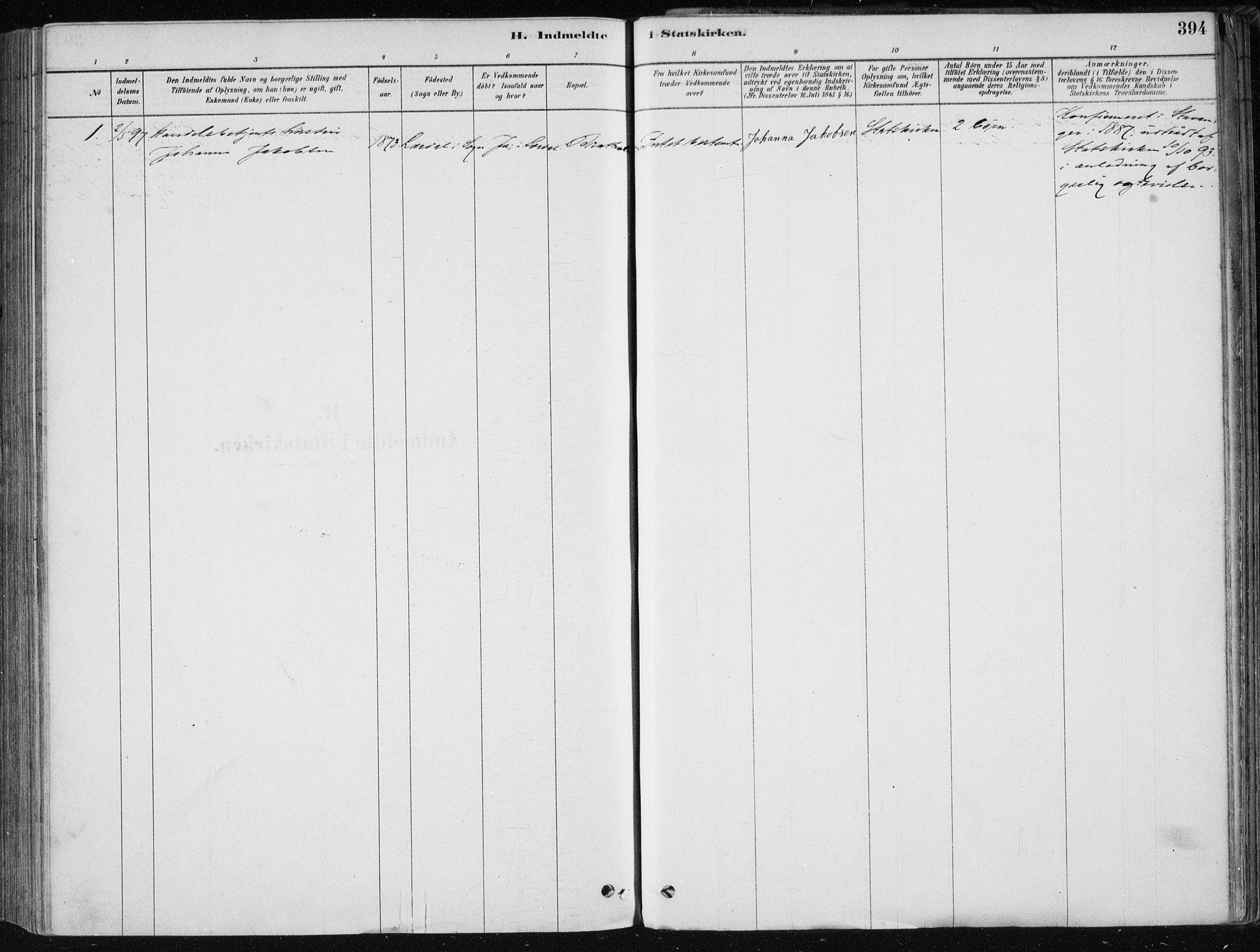SAB, Fjell sokneprestembete, H/Haa: Ministerialbok nr. A  8, 1878-1898, s. 394