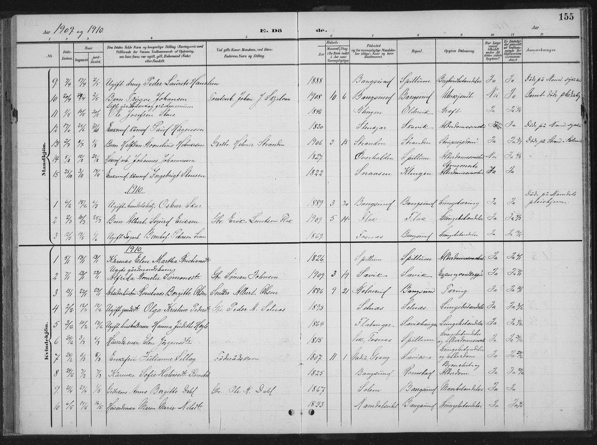 SAT, Ministerialprotokoller, klokkerbøker og fødselsregistre - Nord-Trøndelag, 770/L0591: Klokkerbok nr. 770C02, 1902-1940, s. 155