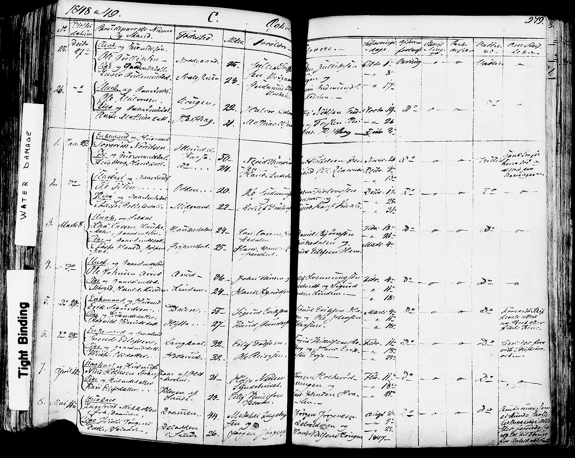 SAKO, Sauherad kirkebøker, F/Fa/L0006: Ministerialbok nr. I 6, 1827-1850, s. 279