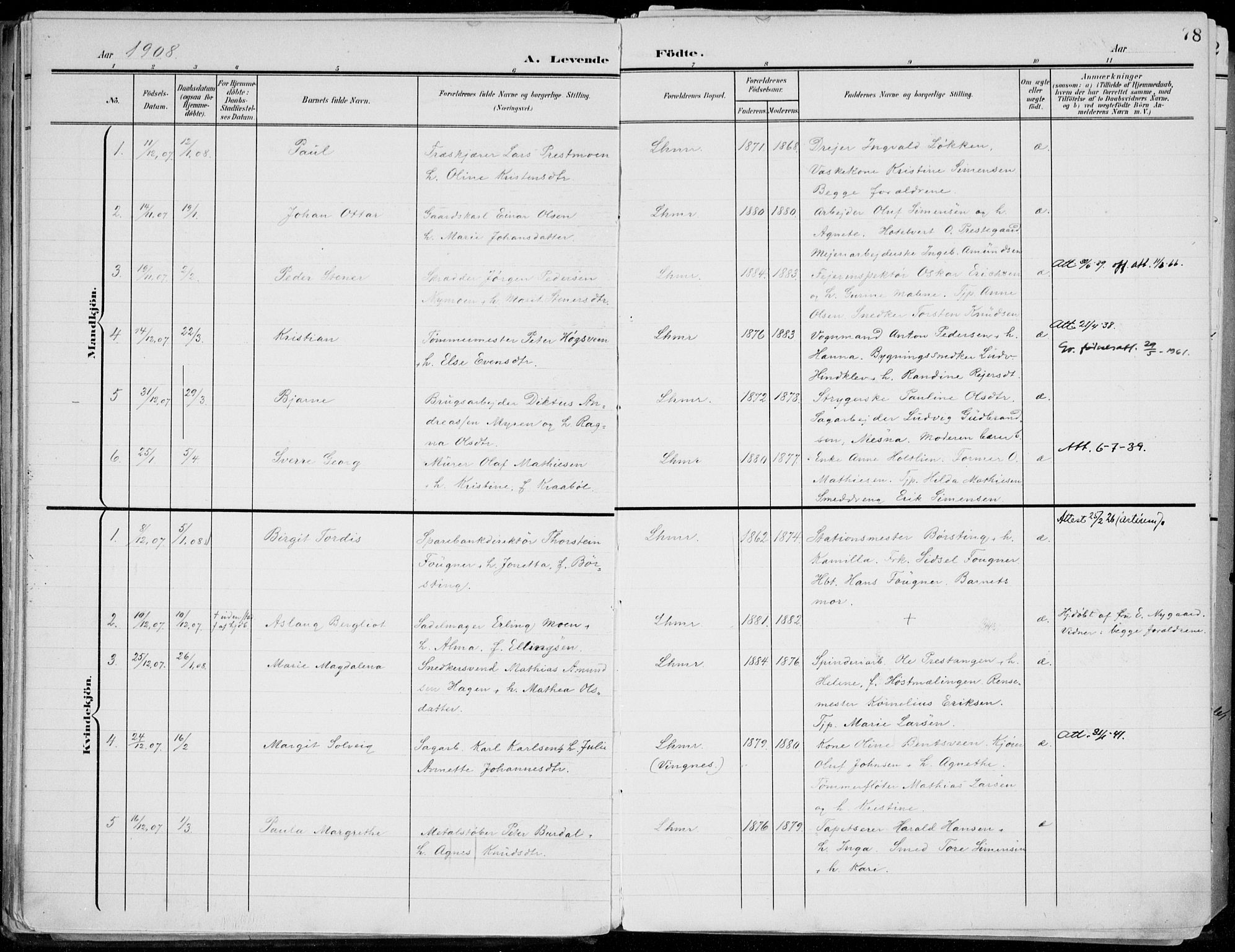 SAH, Lillehammer prestekontor, Ministerialbok nr. 1, 1901-1916, s. 78