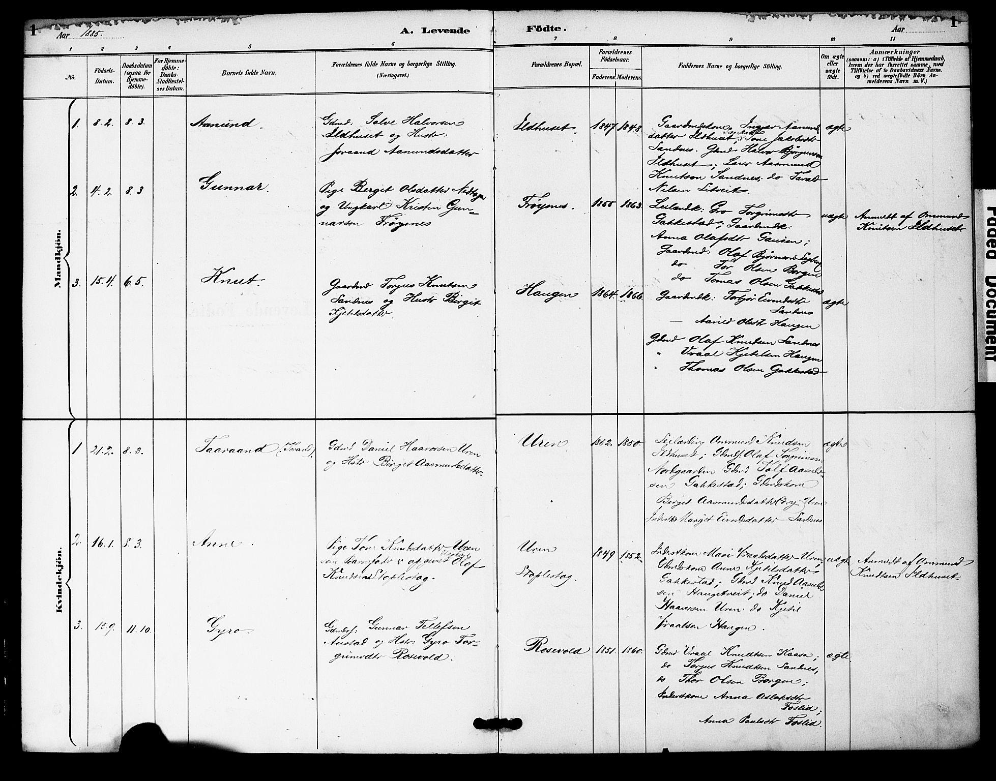 SAK, Bygland sokneprestkontor, F/Fa/Fac/L0001: Ministerialbok nr. A 1, 1885-1909, s. 1