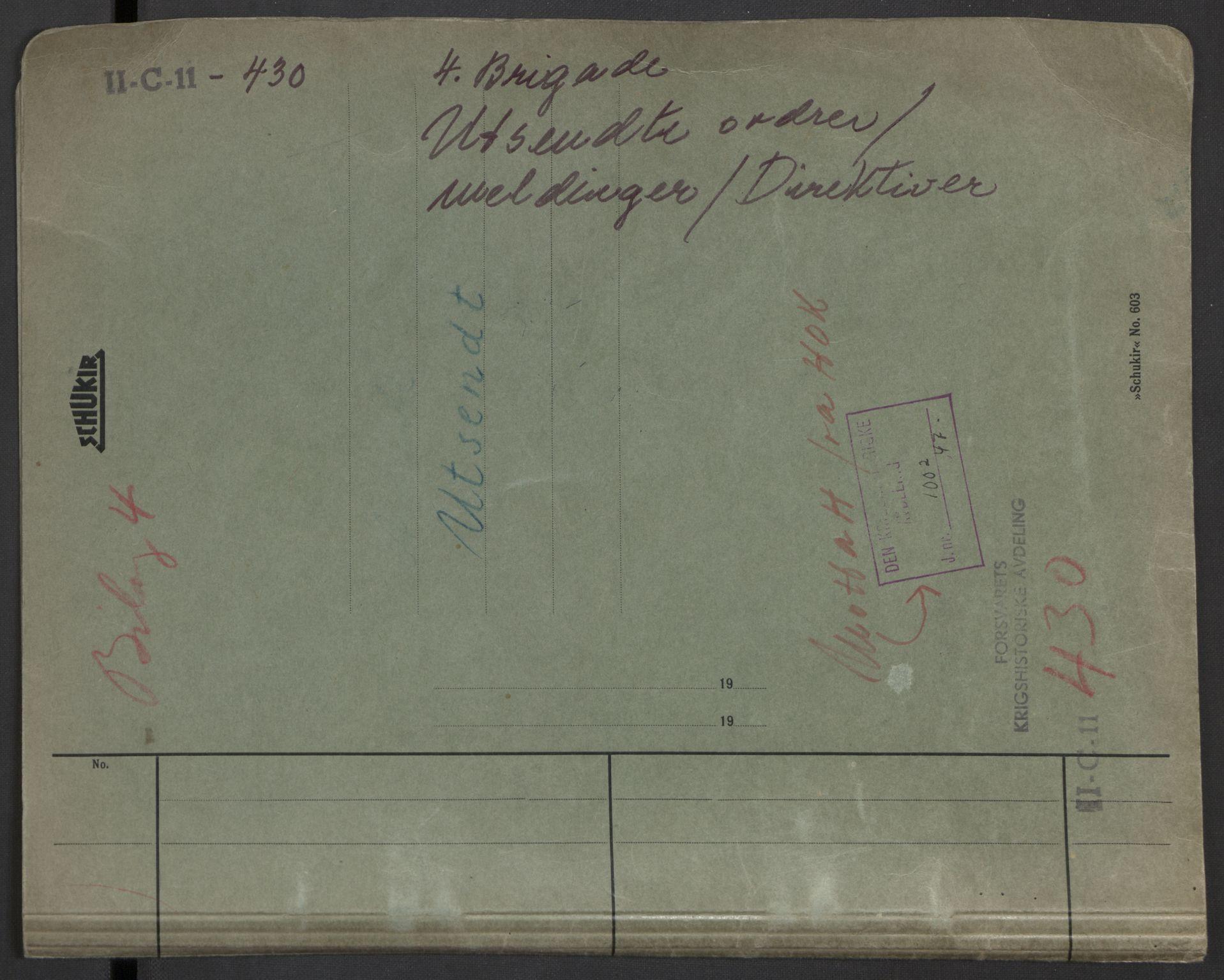 RA, Forsvaret, Forsvarets krigshistoriske avdeling, Y/Yb/L0104: II-C-11-430  -  4. Divisjon., 1940, s. 55