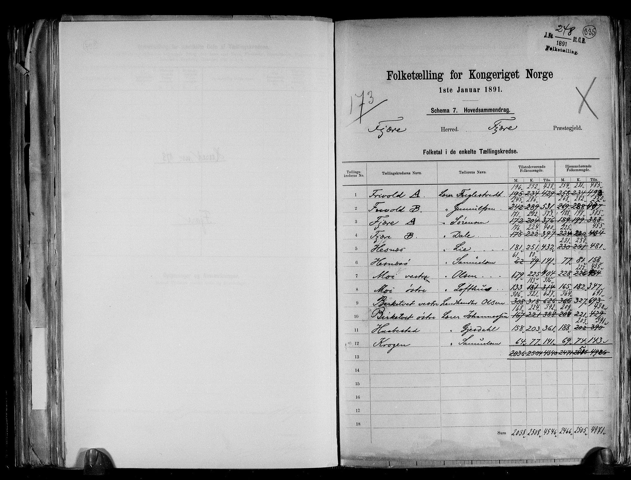 RA, Folketelling 1891 for 0923 Fjære herred, 1891, s. 2