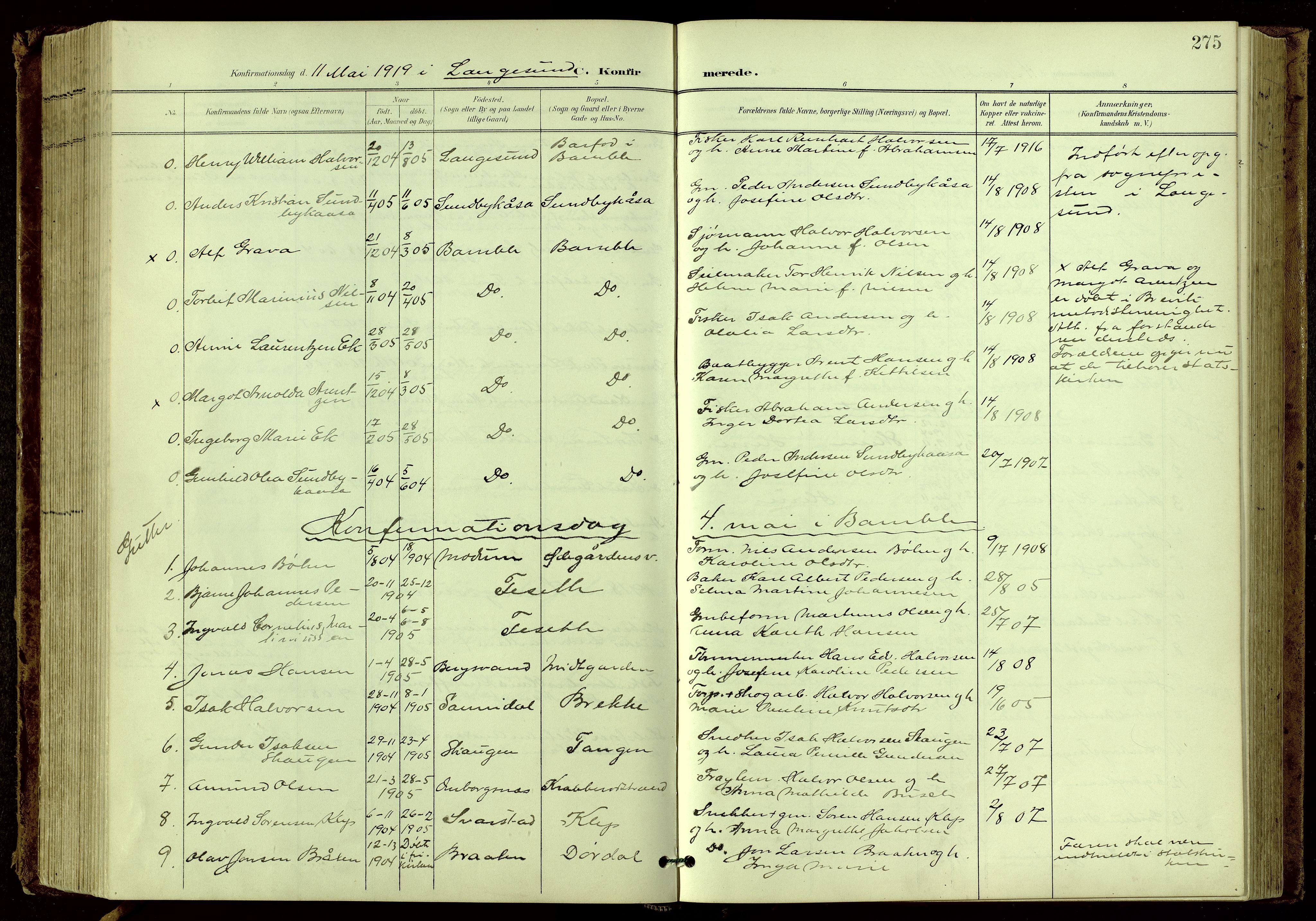 SAKO, Bamble kirkebøker, G/Ga/L0010: Klokkerbok nr. I 10, 1901-1919, s. 275