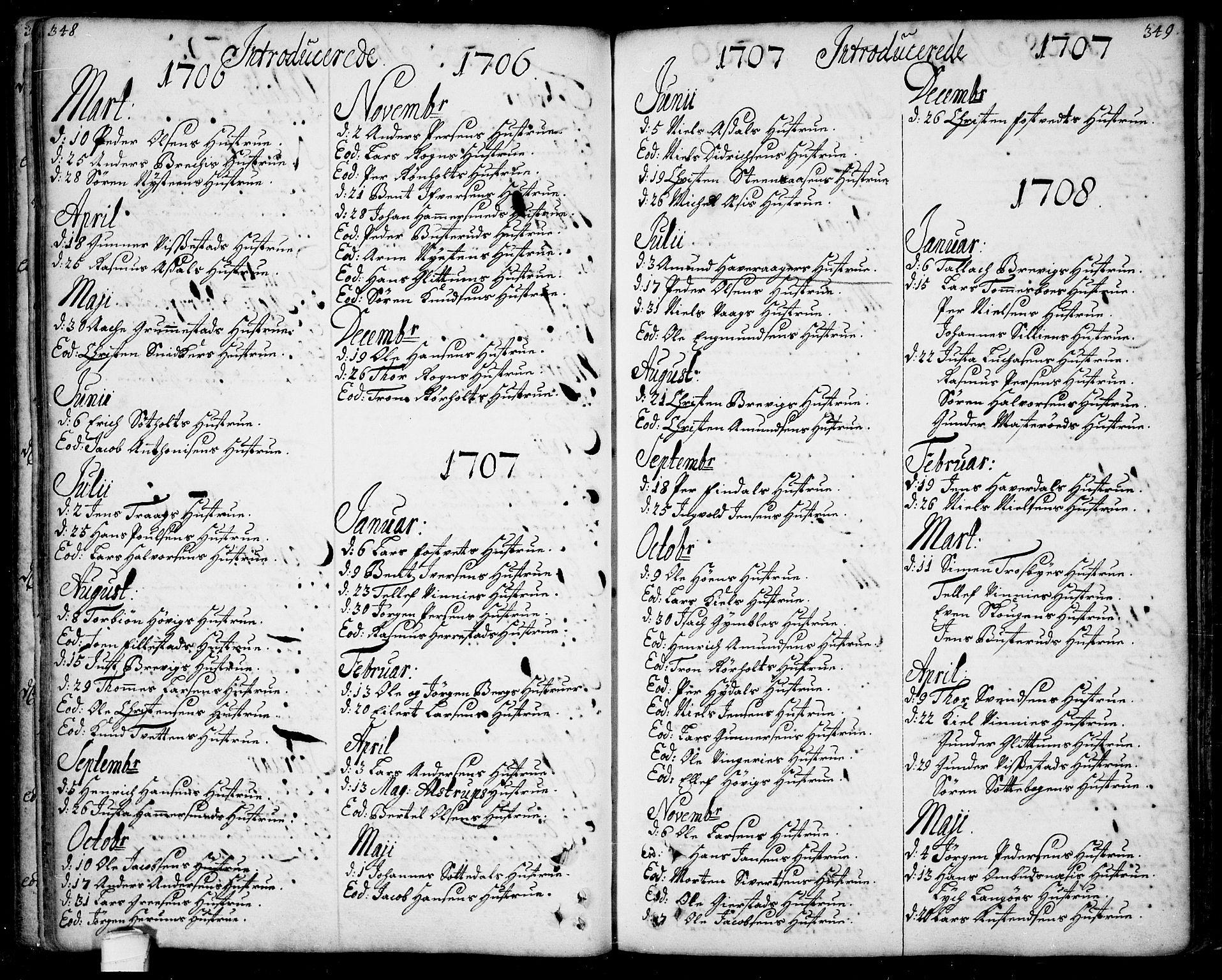 SAKO, Bamble kirkebøker, F/Fa/L0001: Ministerialbok nr. I 1, 1702-1774, s. 348-349