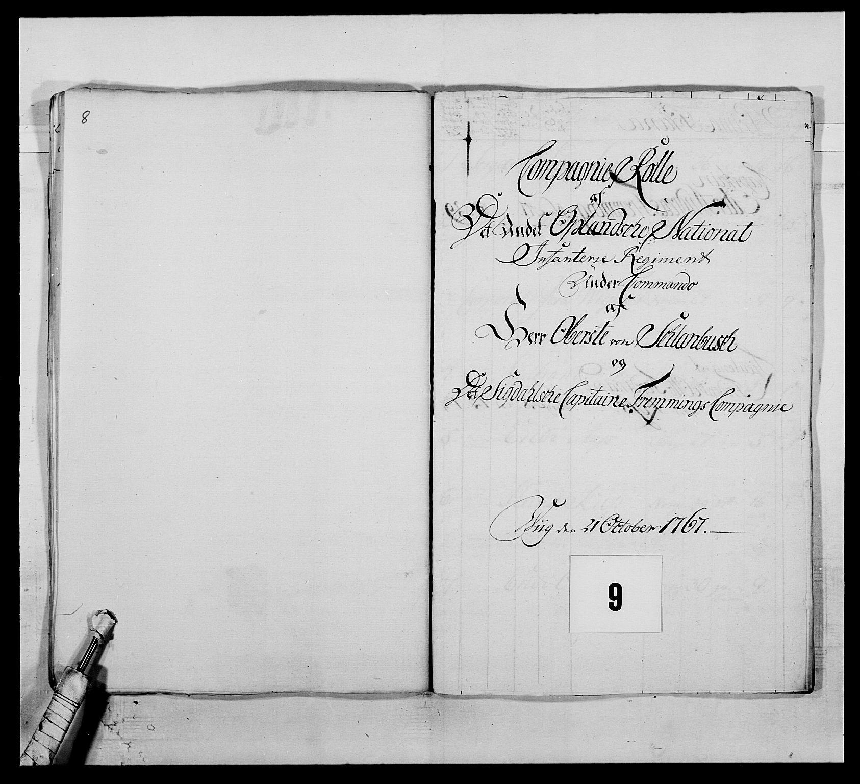 RA, Kommanderende general (KG I) med Det norske krigsdirektorium, E/Ea/L0507: 2. Opplandske regiment, 1766-1767, s. 210