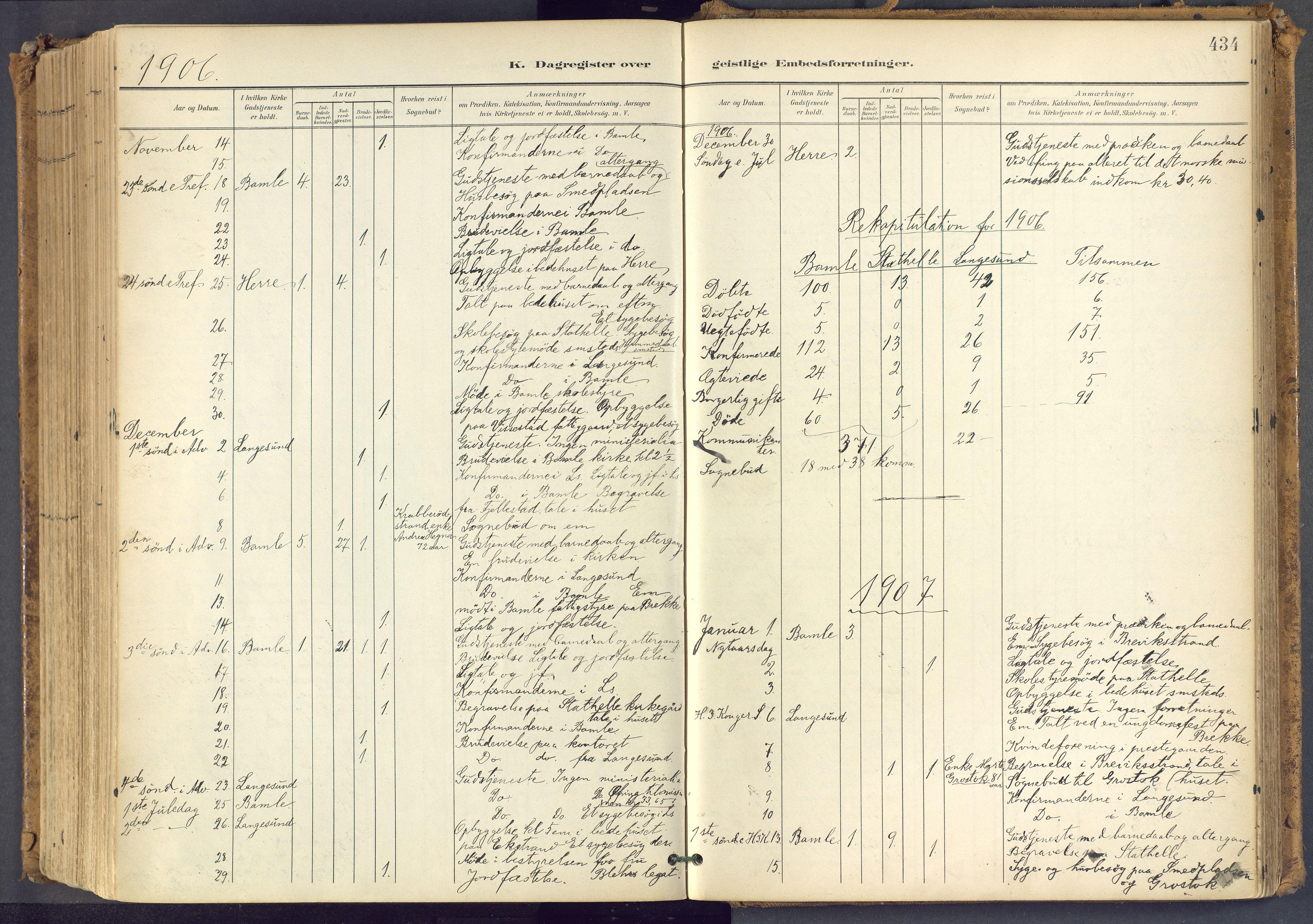 SAKO, Bamble kirkebøker, F/Fa/L0009: Ministerialbok nr. I 9, 1901-1917, s. 434