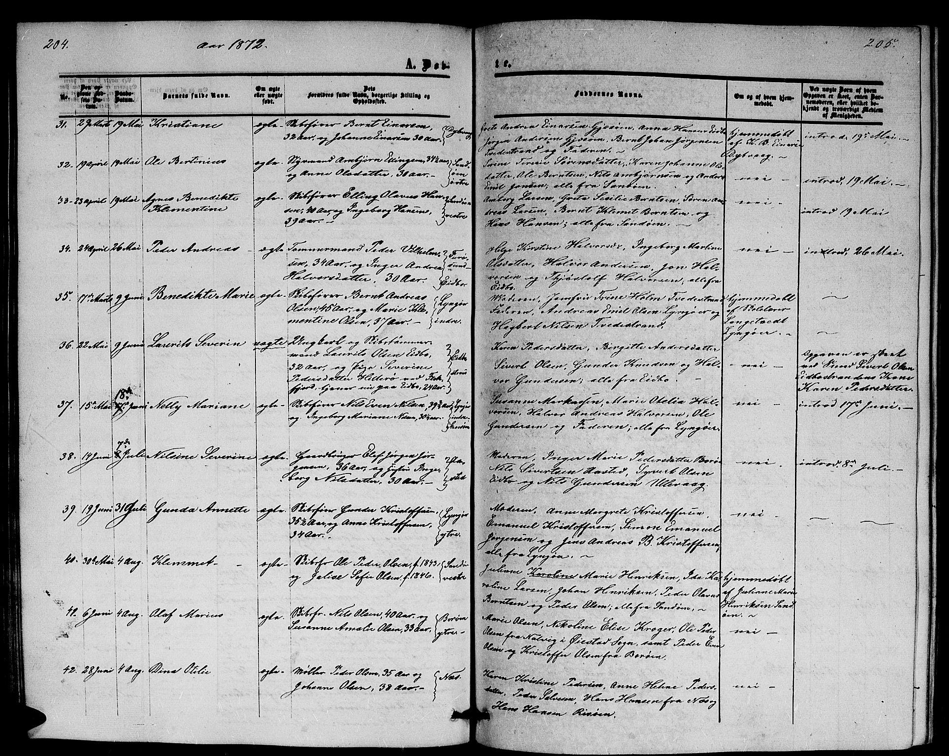 SAK, Dypvåg sokneprestkontor, F/Fb/Fba/L0011: Klokkerbok nr. B 11, 1857-1872, s. 204-205