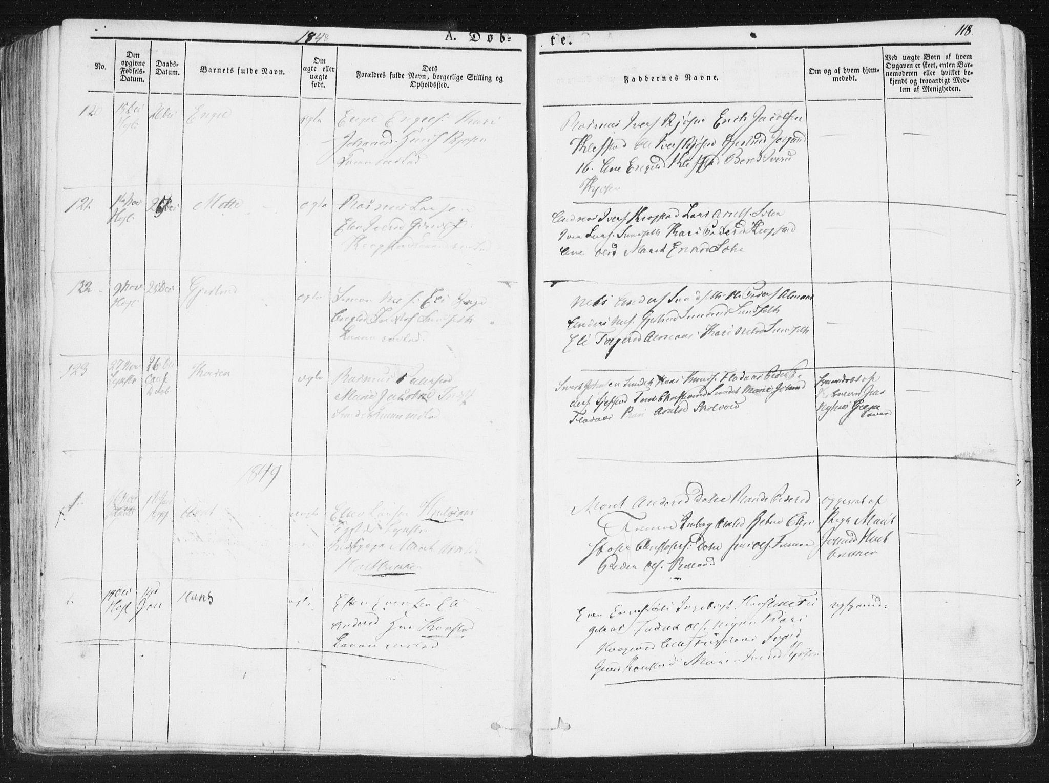 SAT, Ministerialprotokoller, klokkerbøker og fødselsregistre - Sør-Trøndelag, 691/L1074: Ministerialbok nr. 691A06, 1842-1852, s. 118