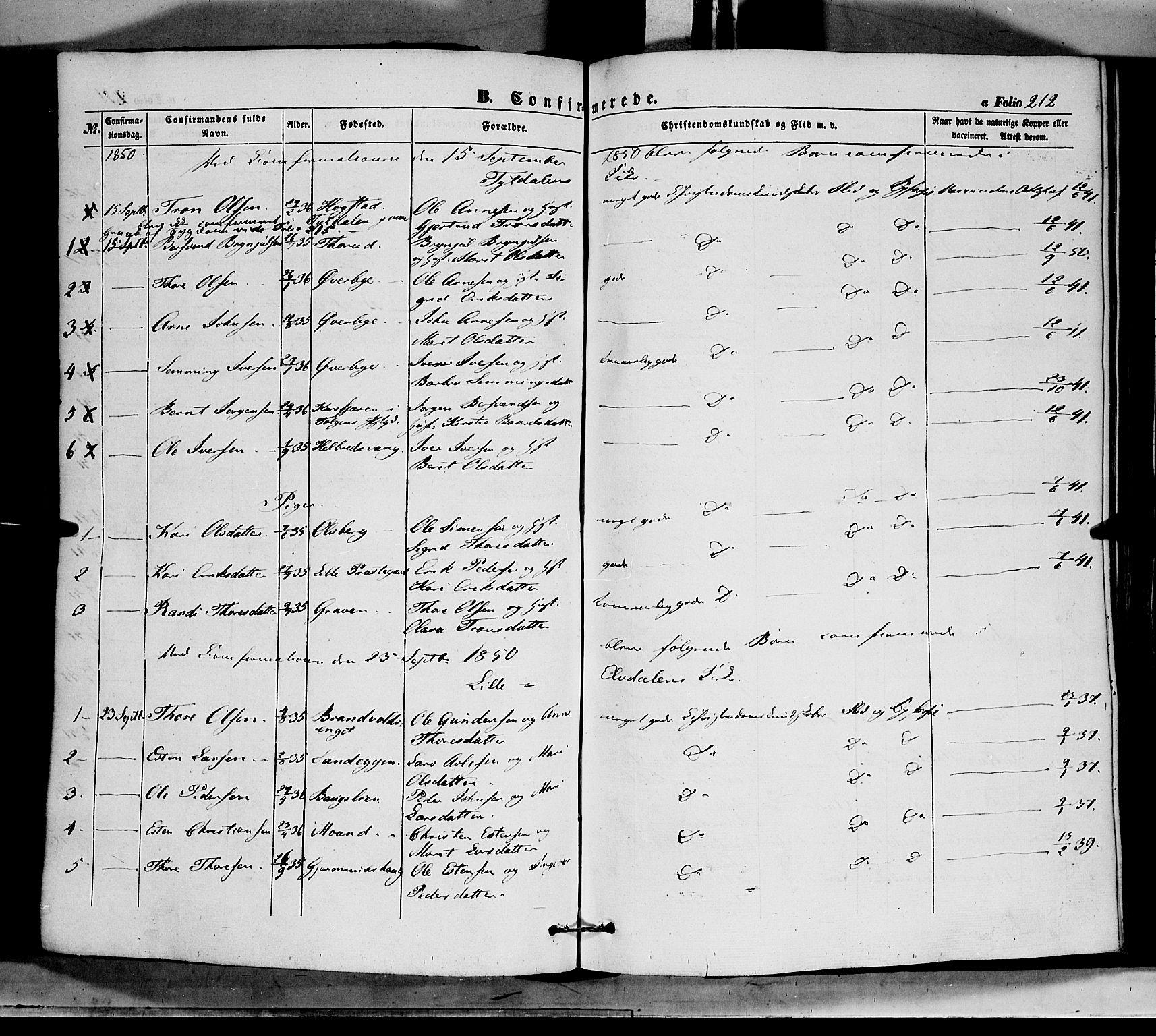 SAH, Tynset prestekontor, Ministerialbok nr. 20, 1848-1862, s. 212