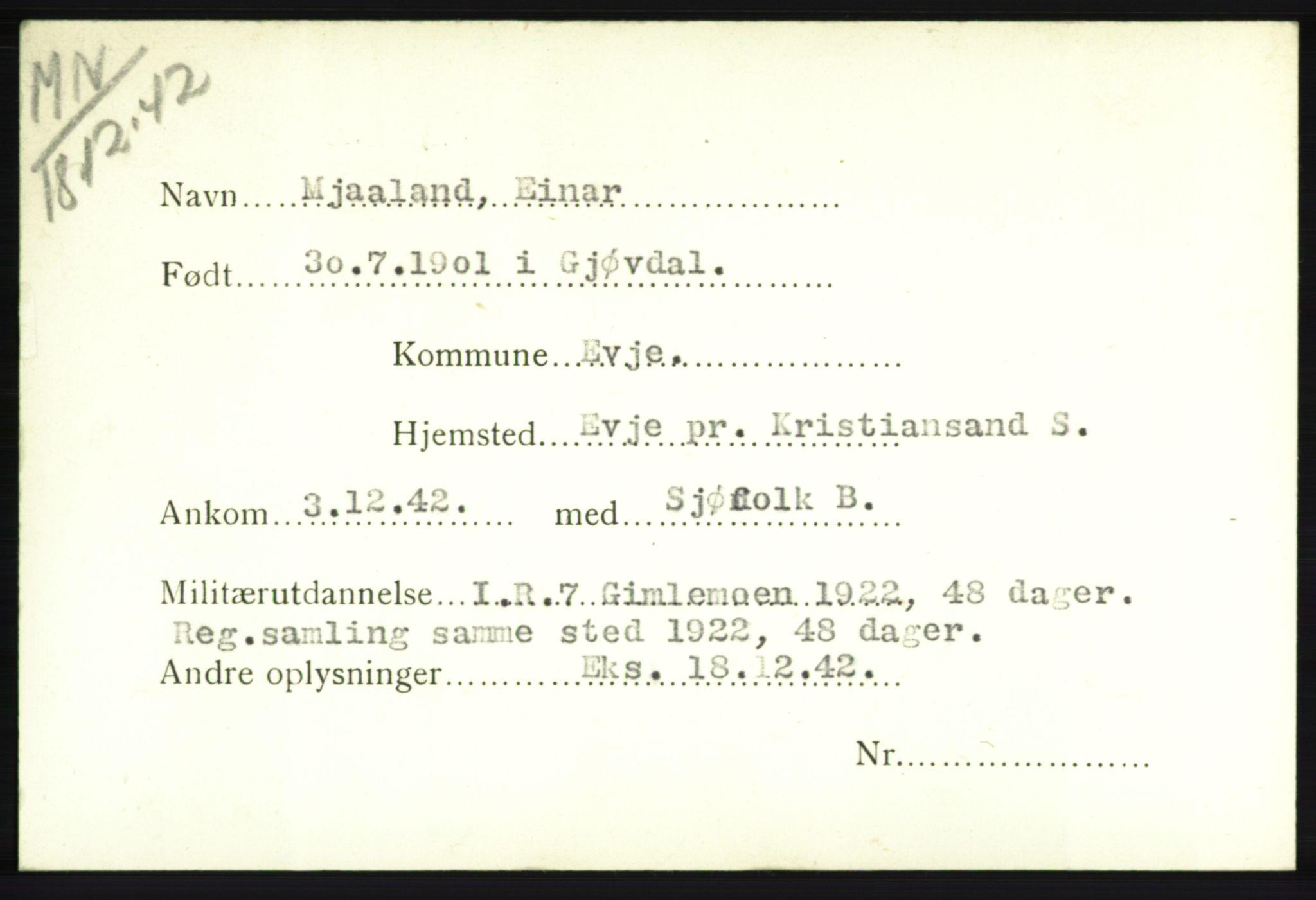 NHM, Forsvarets Overkommando. 2. kontor. Arkiv 8.1. Mottakersentralen FDE og FO.II, P/Pa/L0014: Kortsamling, 1940-1945, s. 1