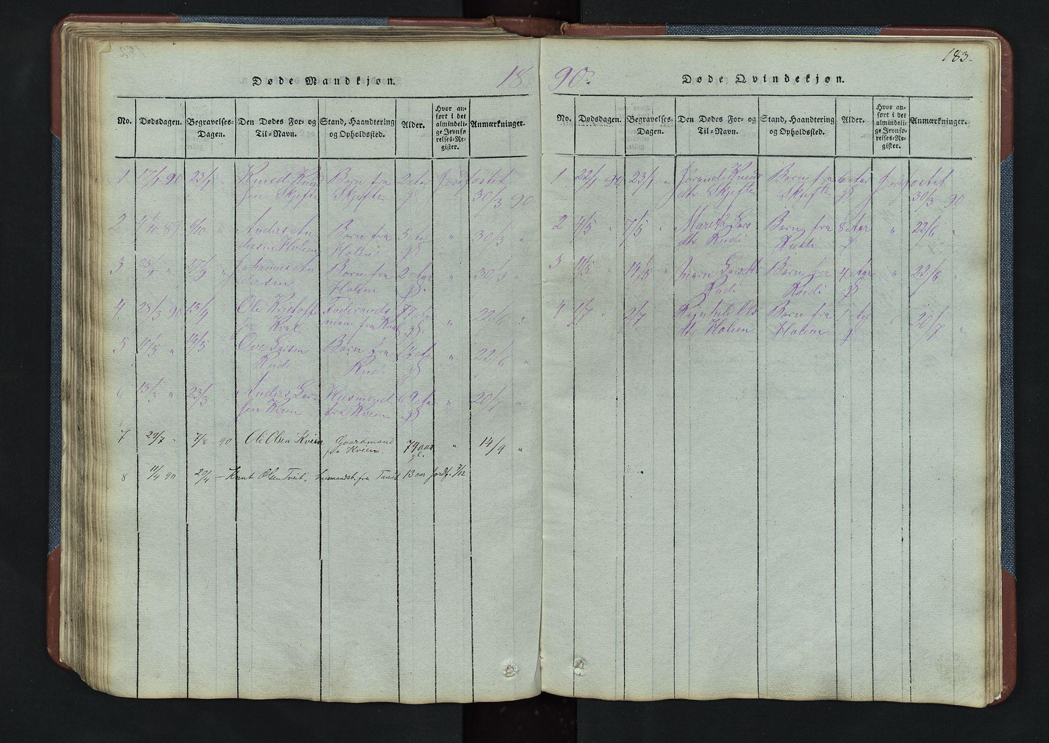 SAH, Vang prestekontor, Valdres, Klokkerbok nr. 3, 1814-1892, s. 183