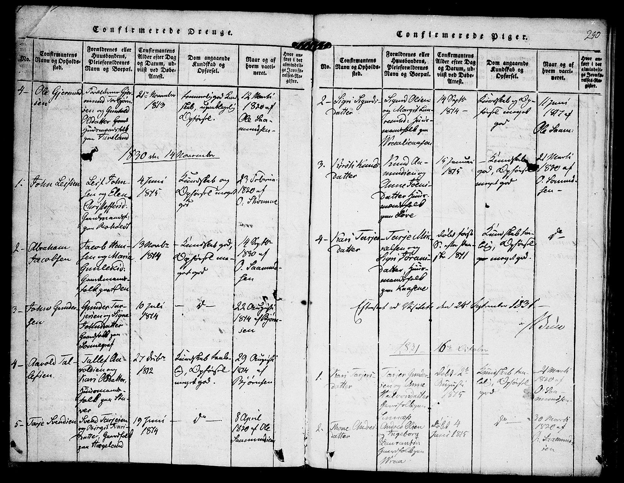 SAKO, Kviteseid kirkebøker, F/Fc/L0001: Ministerialbok nr. III 1, 1815-1836, s. 250