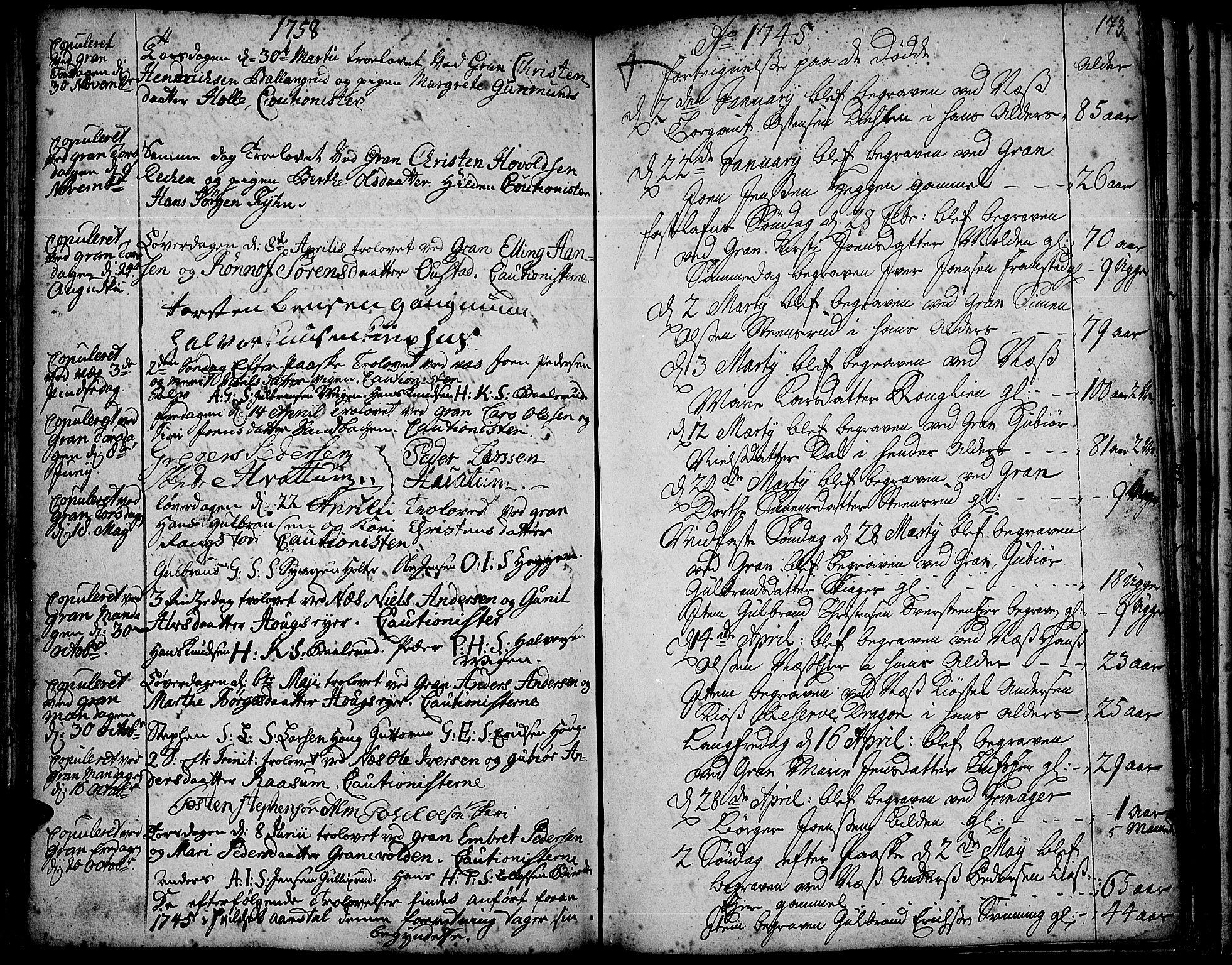 SAH, Gran prestekontor, Ministerialbok nr. 3, 1745-1758, s. 173