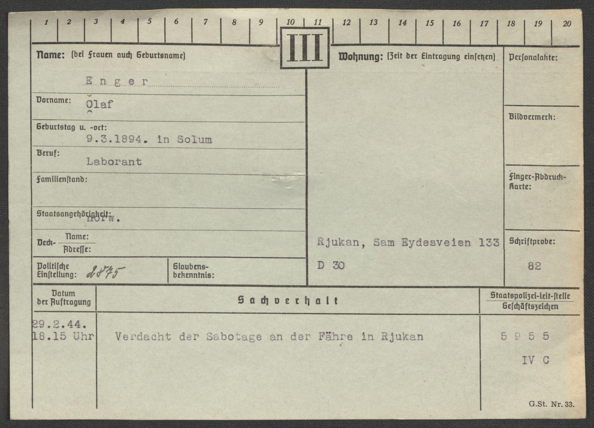 RA, Befehlshaber der Sicherheitspolizei und des SD, E/Ea/Eaa/L0003: Register over norske fanger i Møllergata 19: Eng-Hag, 1940-1945, s. 2