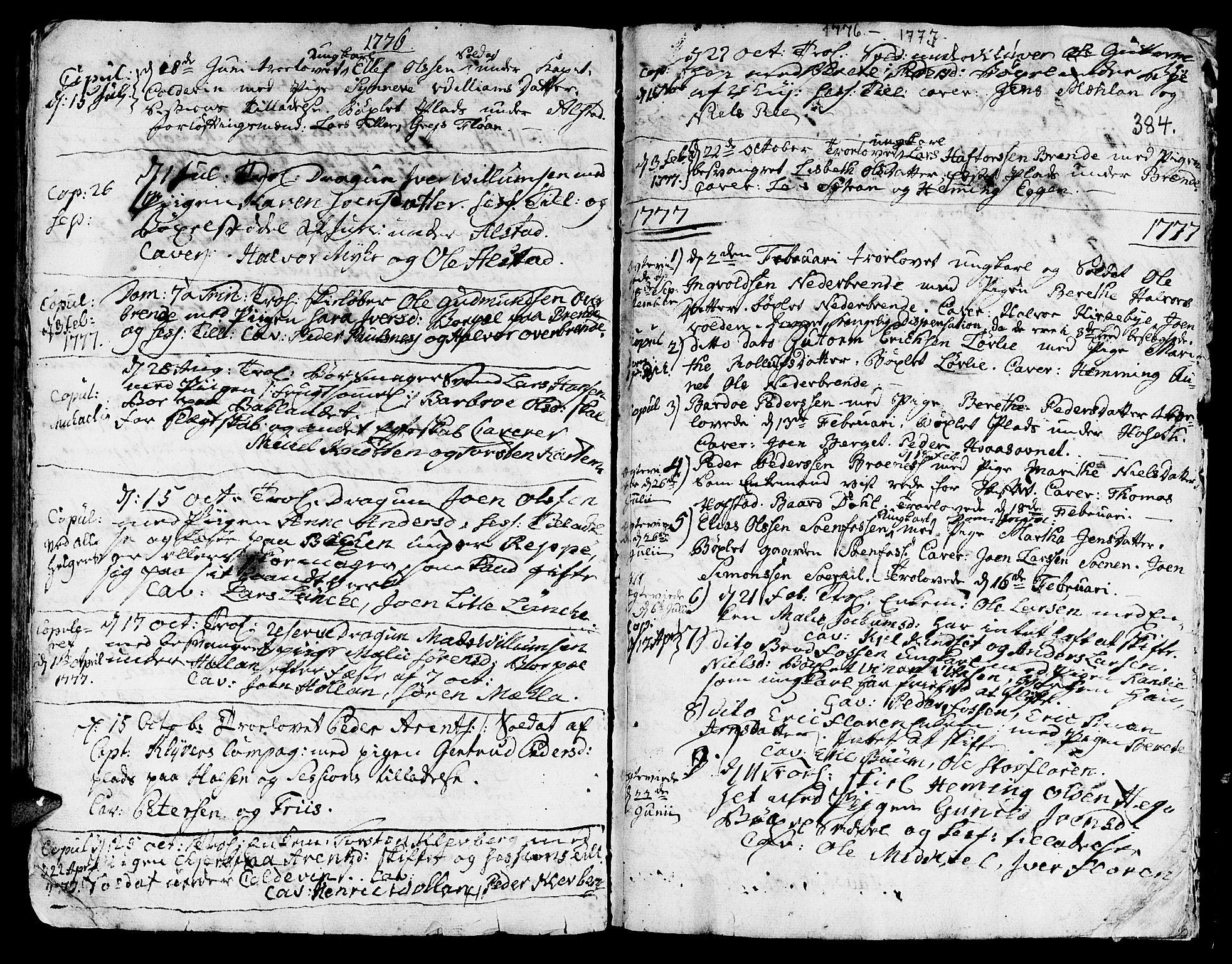 SAT, Ministerialprotokoller, klokkerbøker og fødselsregistre - Nord-Trøndelag, 709/L0057: Ministerialbok nr. 709A05, 1755-1780, s. 384