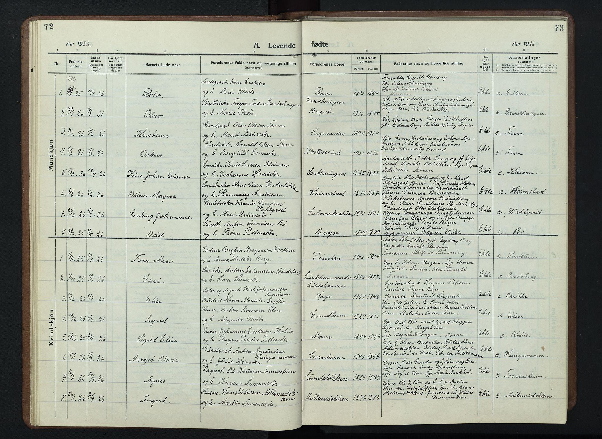 SAH, Nord-Fron prestekontor, Klokkerbok nr. 7, 1915-1946, s. 72-73